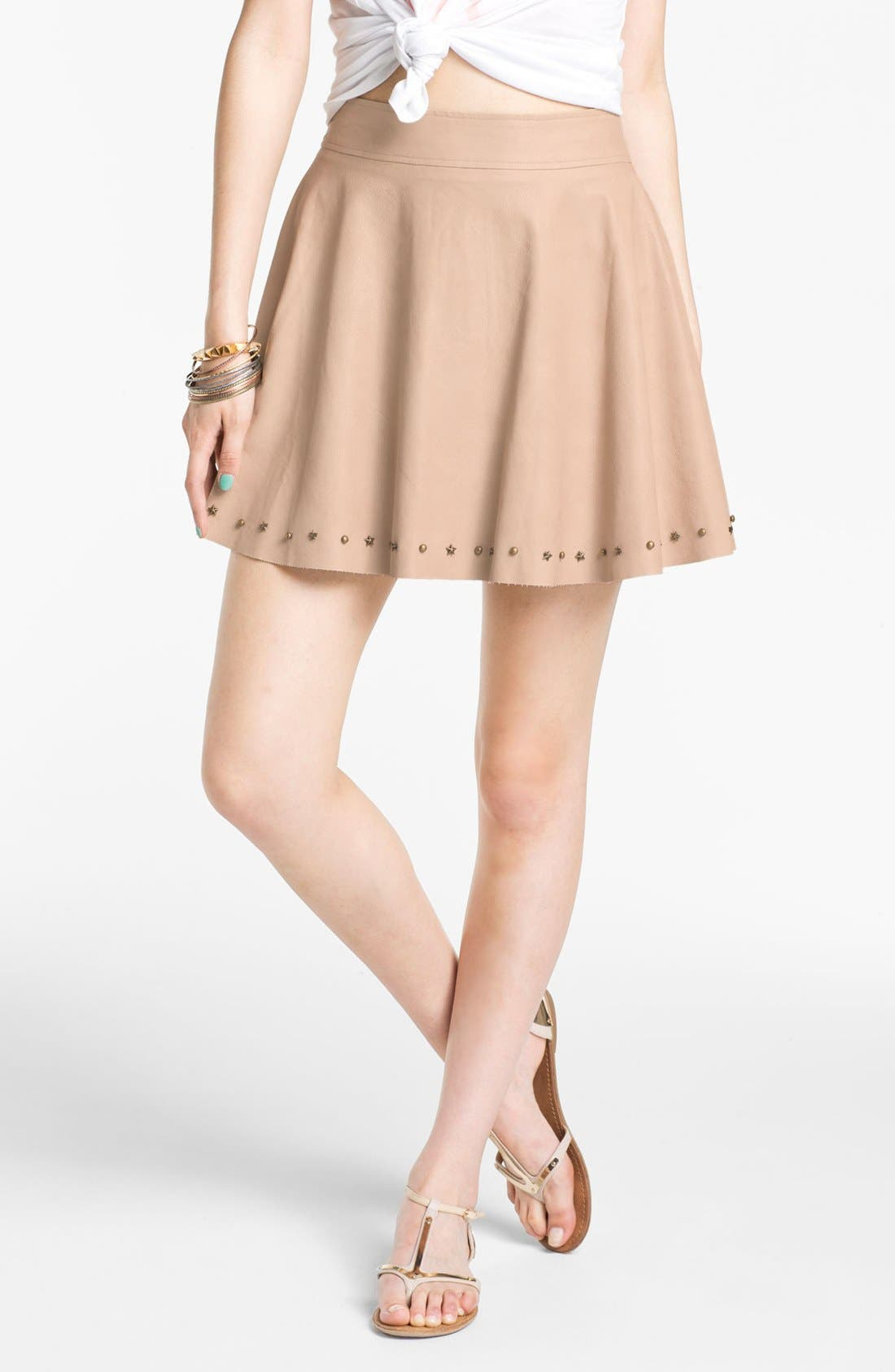 Studded Faux Leather Skirt, Main, color, 270