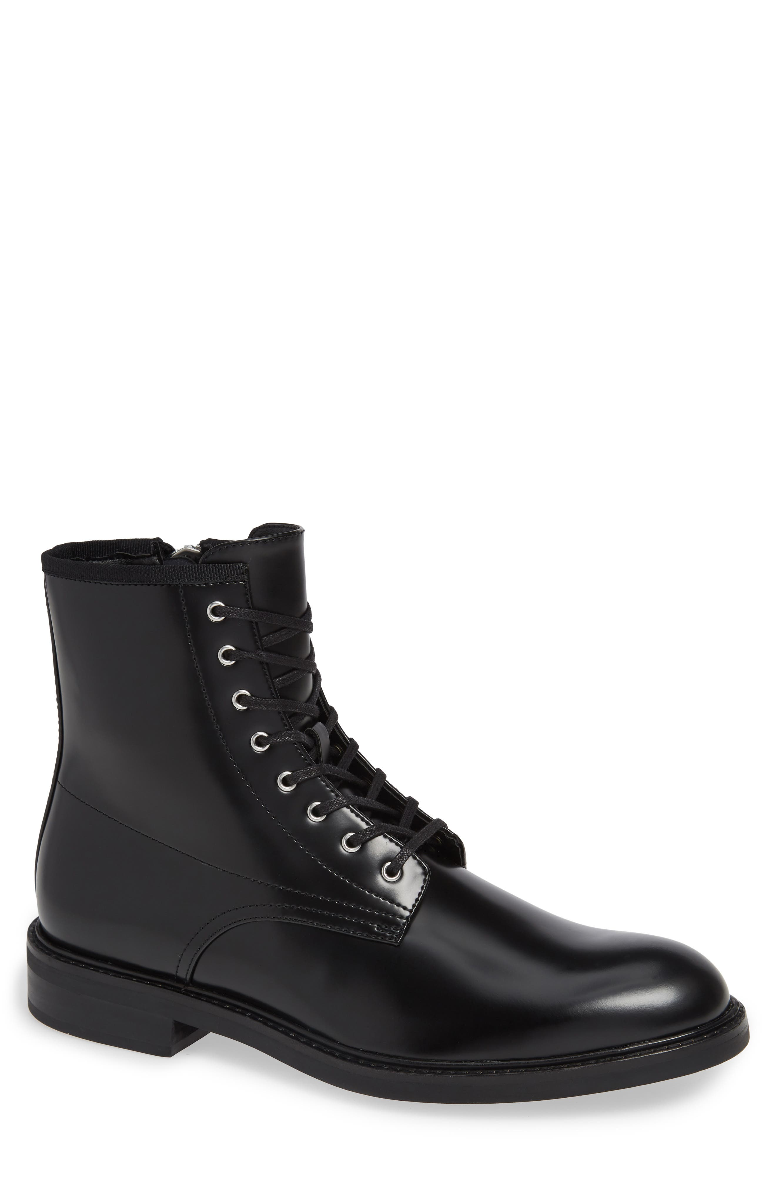 Keeler Combat Boot,                             Main thumbnail 1, color,                             BLACK LEATHER