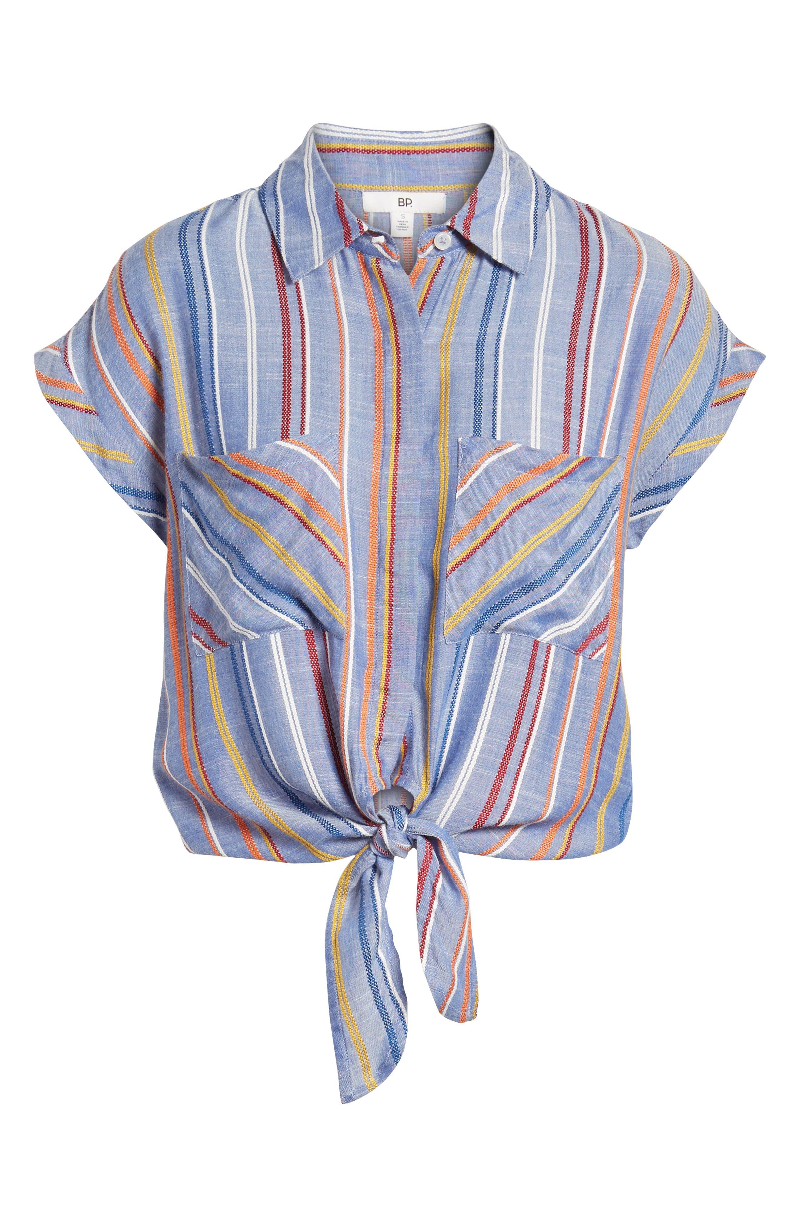 Stripe Tie Front Shirt,                             Alternate thumbnail 7, color,                             410