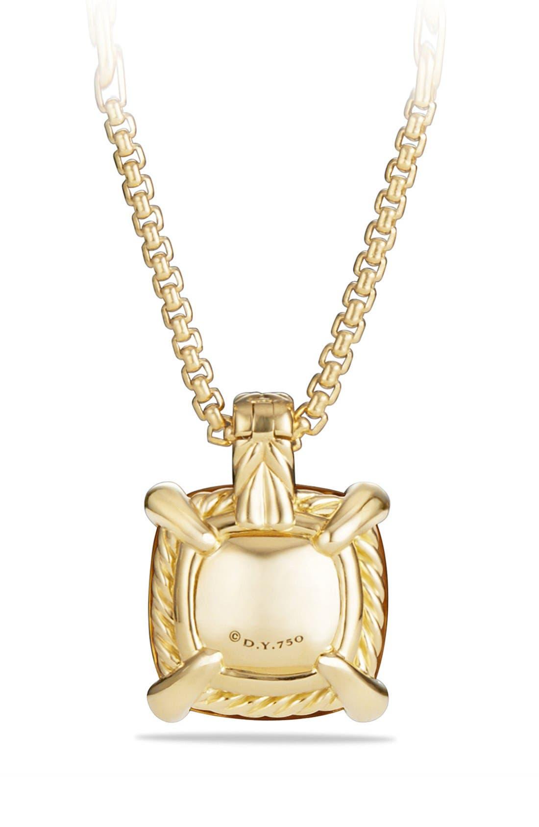 'Châtelaine' Pendant Necklace with Diamonds in 18K Gold,                             Alternate thumbnail 4, color,                             HAMPTON BLUE TOPAZ