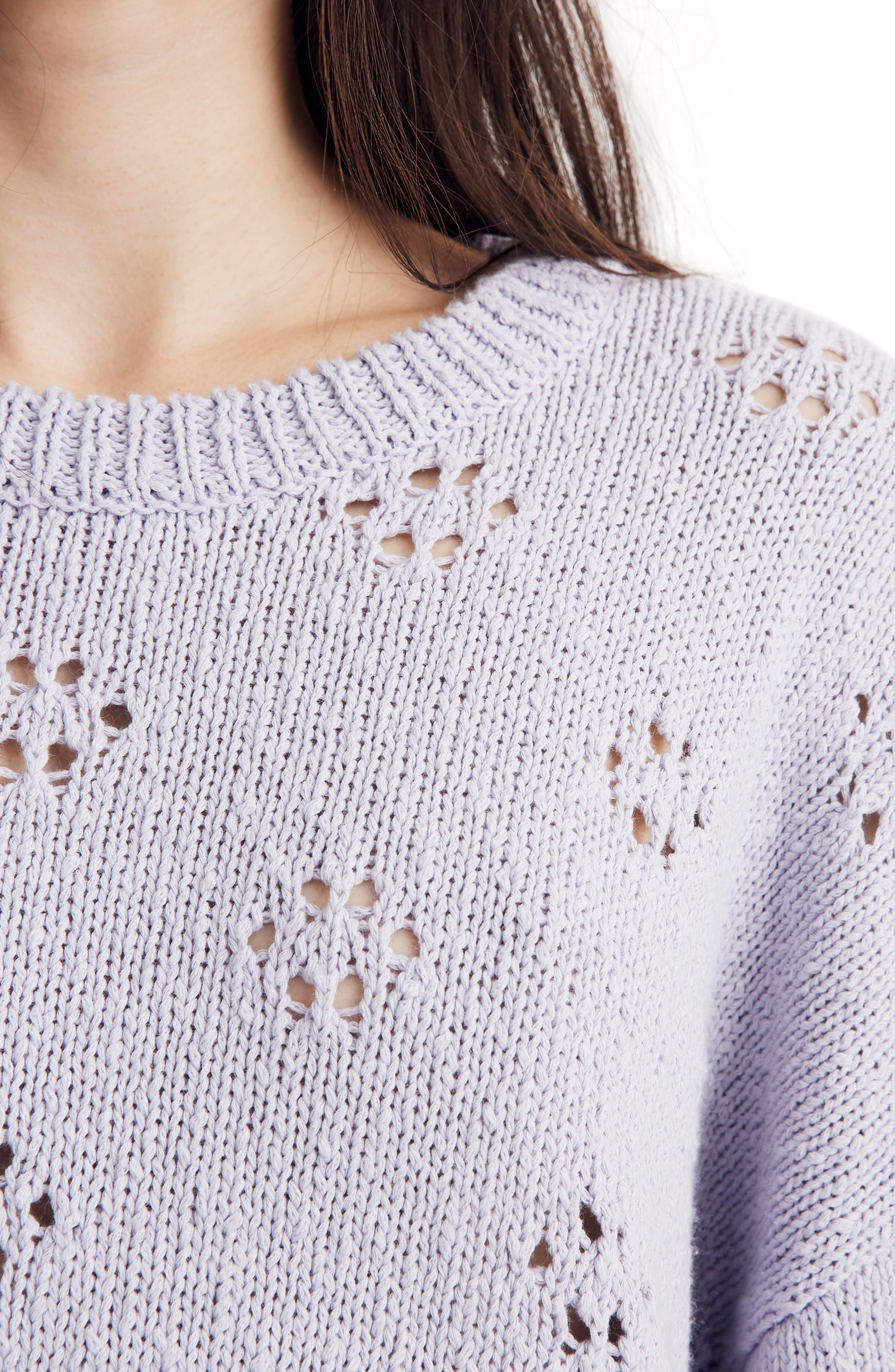 Floral Pointelle Pullover Sweater,                             Alternate thumbnail 7, color,                             SUNDRENCHED LILAC