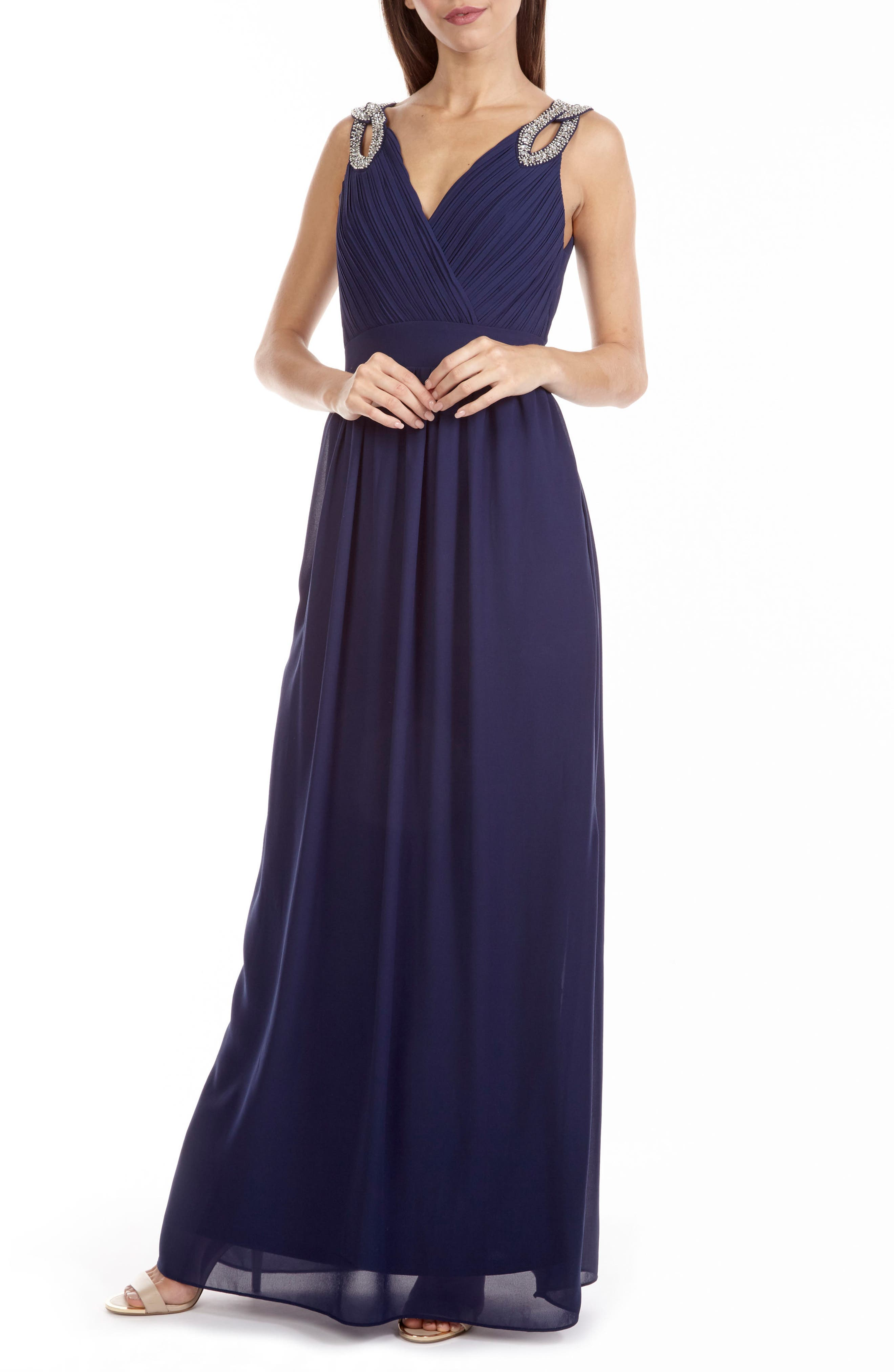 Debbie Embellished Pleated Chiffon Gown,                             Alternate thumbnail 4, color,                             410