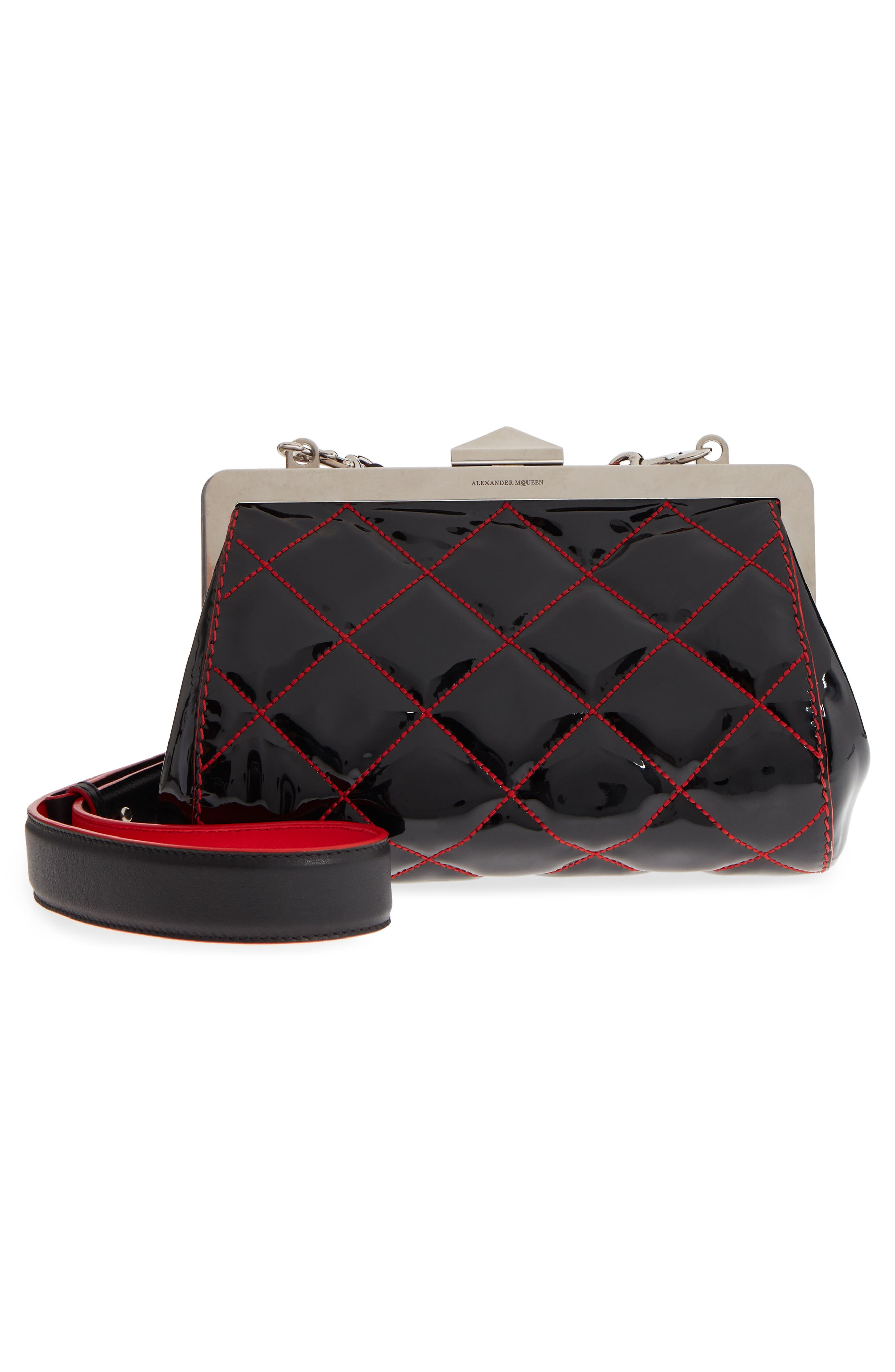 Quilted Patent Leather Frame Clutch,                             Alternate thumbnail 3, color,                             BLACK/ LUST RED