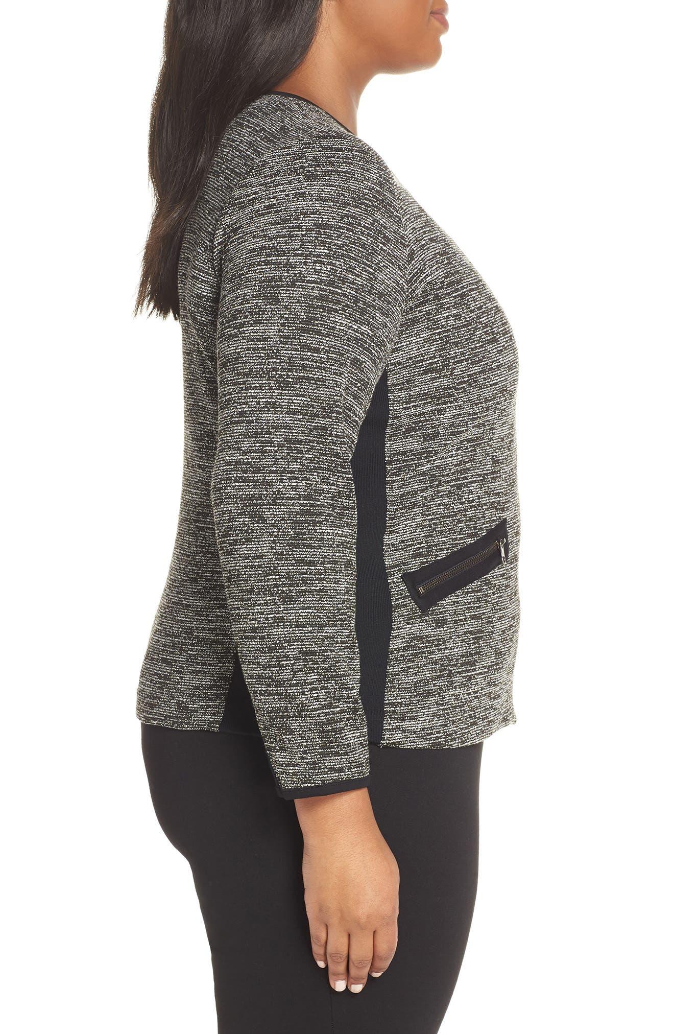Mix Media Knit Jacket,                             Alternate thumbnail 3, color,                             BLACK TWEED