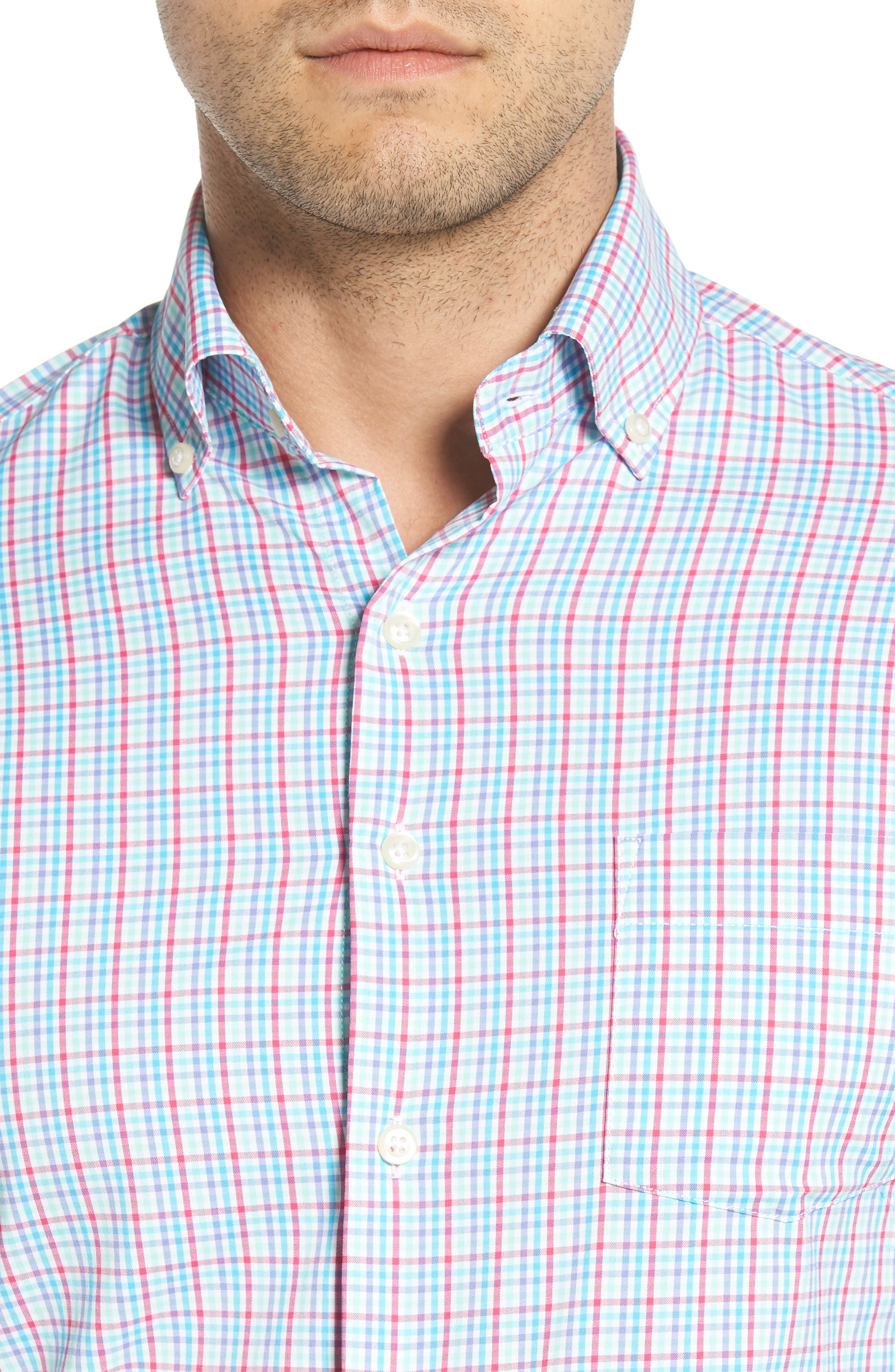 PETER MILLAR,                             Smedes Regular Fit Check Performance Sport Shirt,                             Alternate thumbnail 4, color,                             100