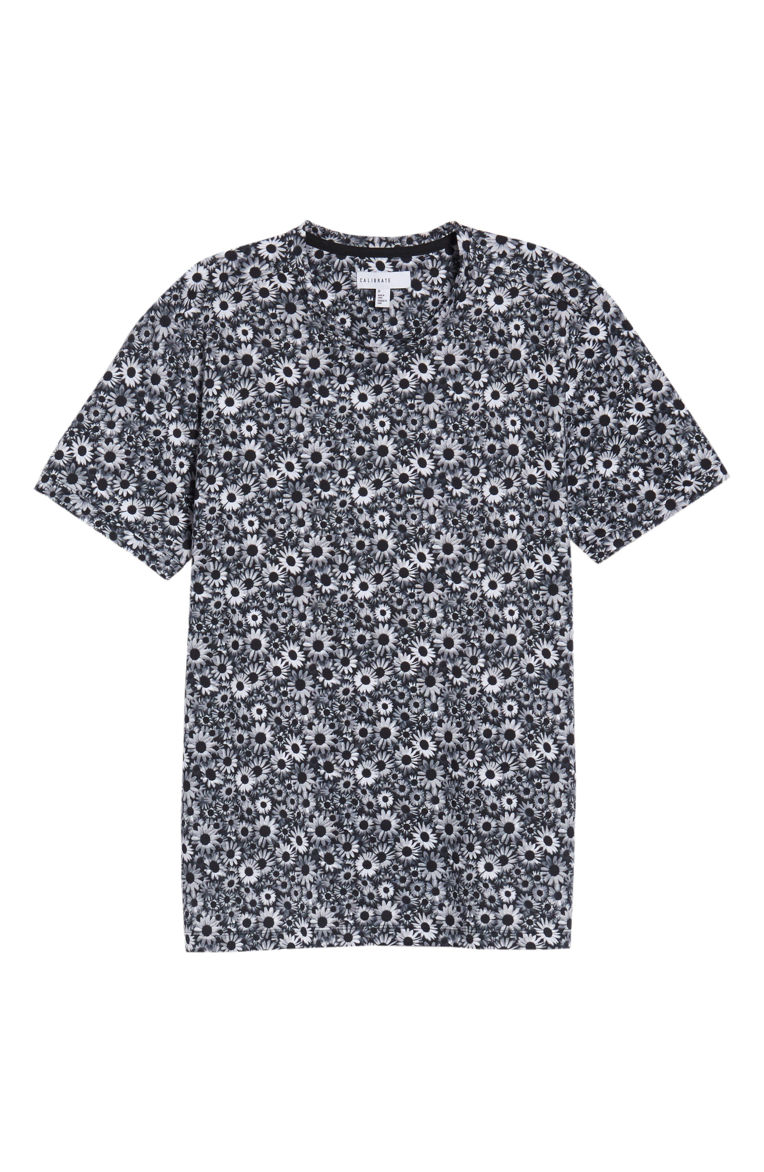 Print T-Shirt,                             Alternate thumbnail 6, color,                             BLACK WHITE DAISY FLORAL