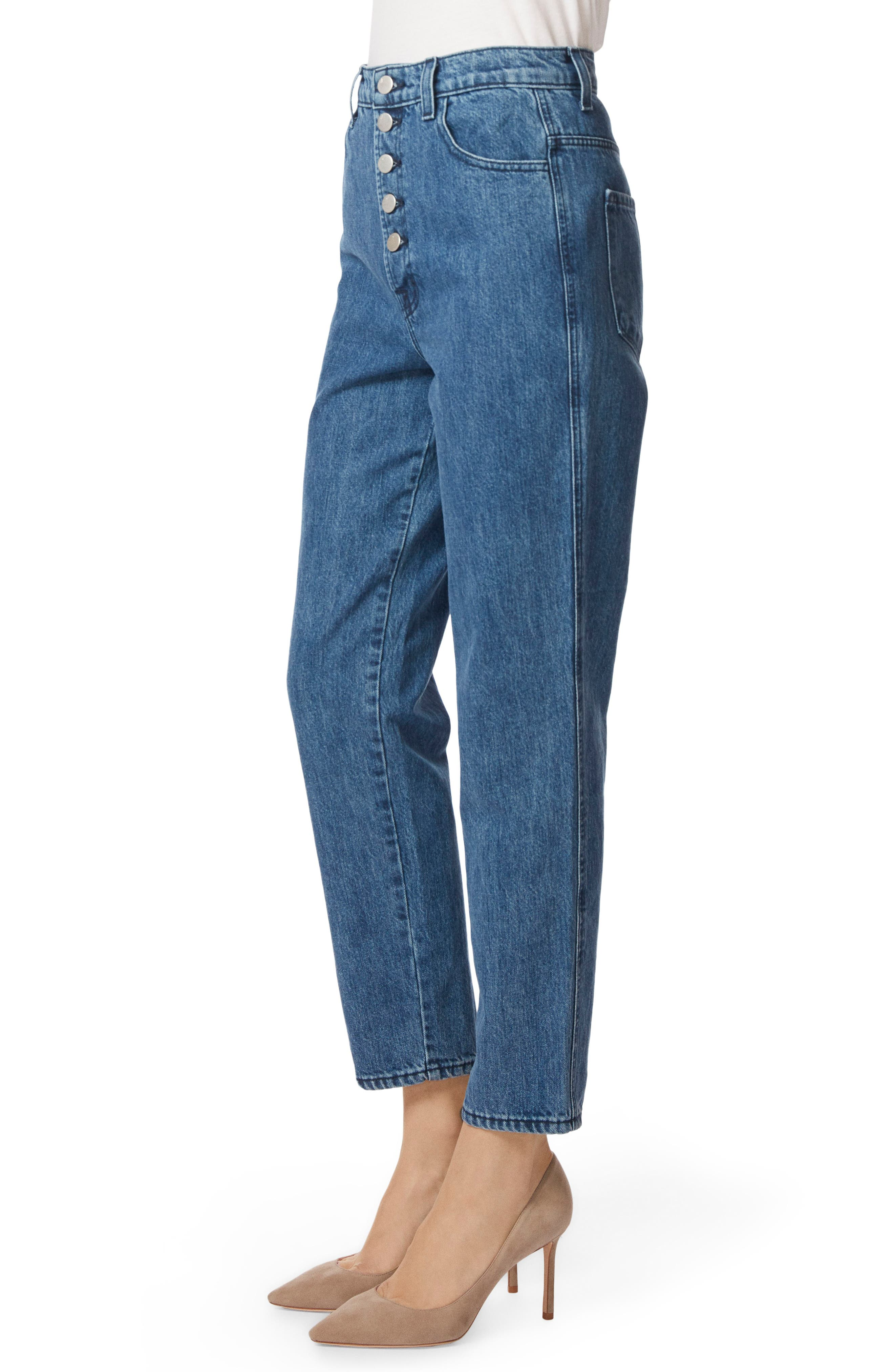 Heather Button Fly Straight Leg Jeans,                             Alternate thumbnail 3, color,                             ELECTRIFY
