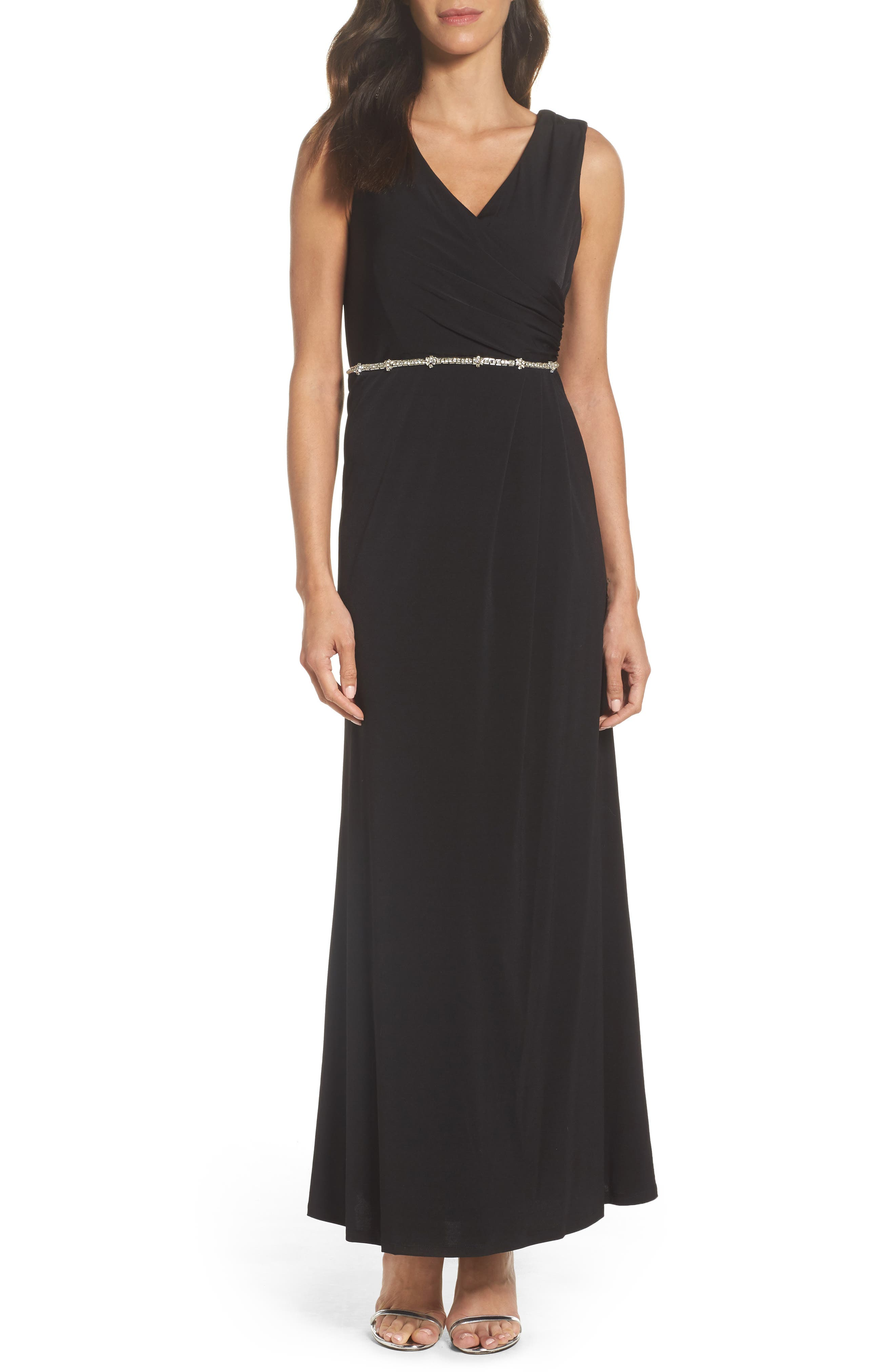 Embellished Drape Back Gown,                             Main thumbnail 1, color,                             001
