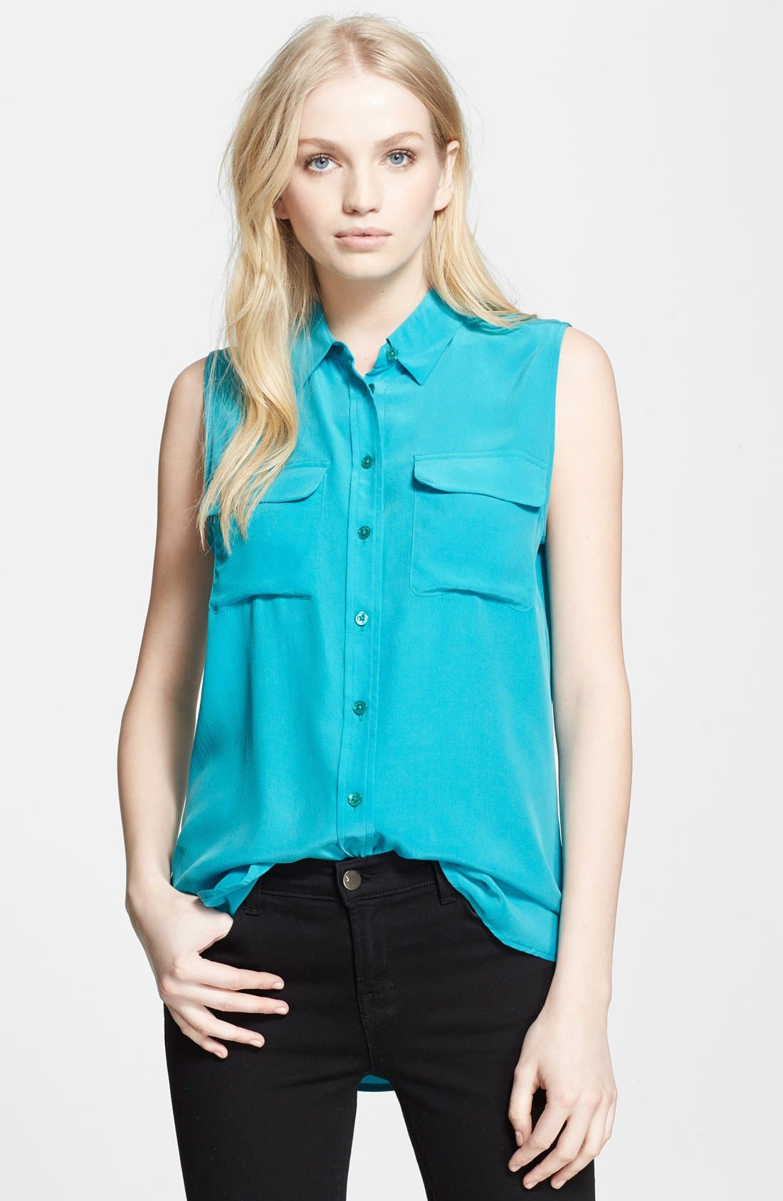 'Slim Signature' Sleeveless Silk Shirt,                             Main thumbnail 24, color,
