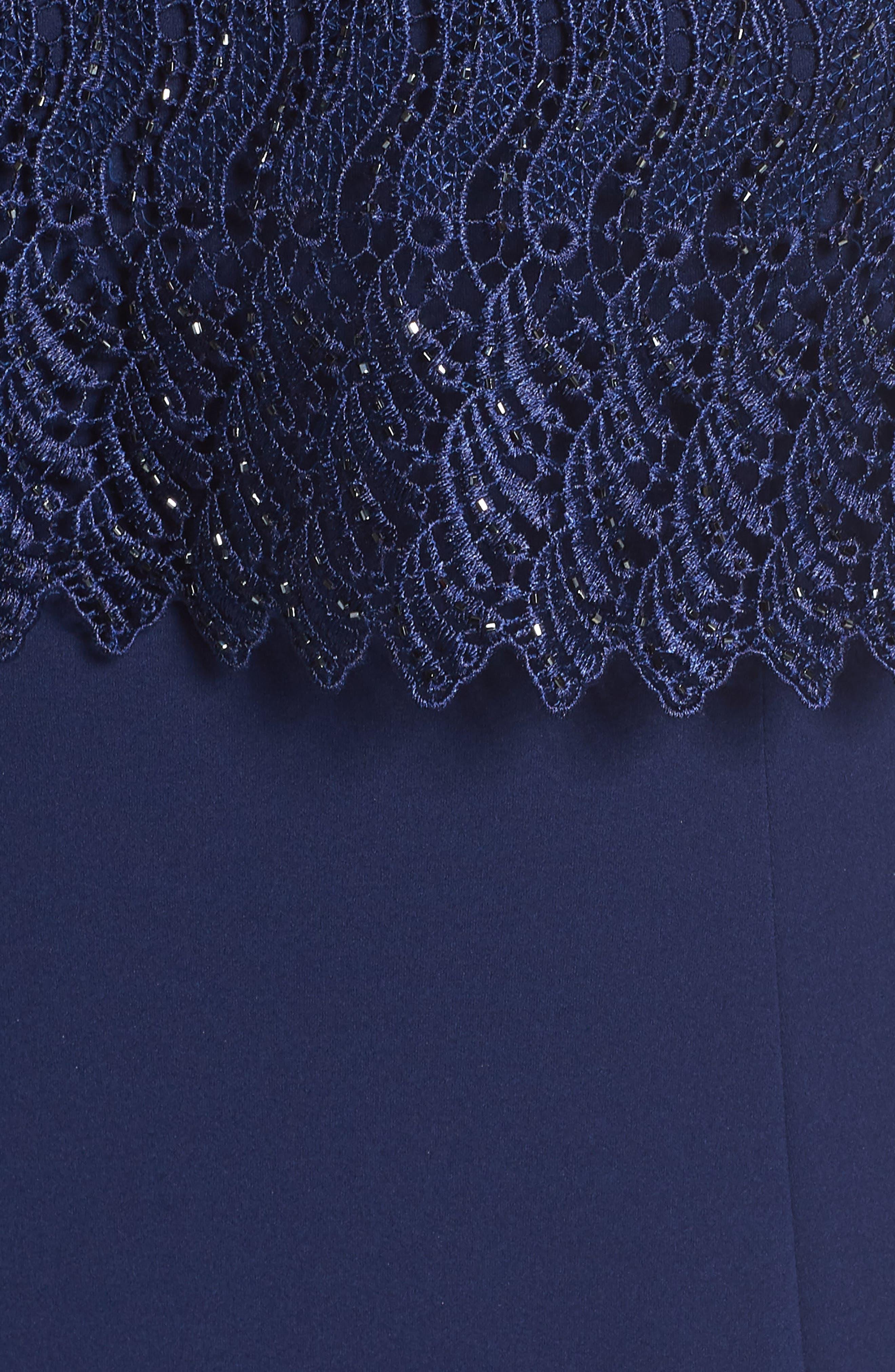 Guipure Popover Crepe Gown,                             Alternate thumbnail 5, color,