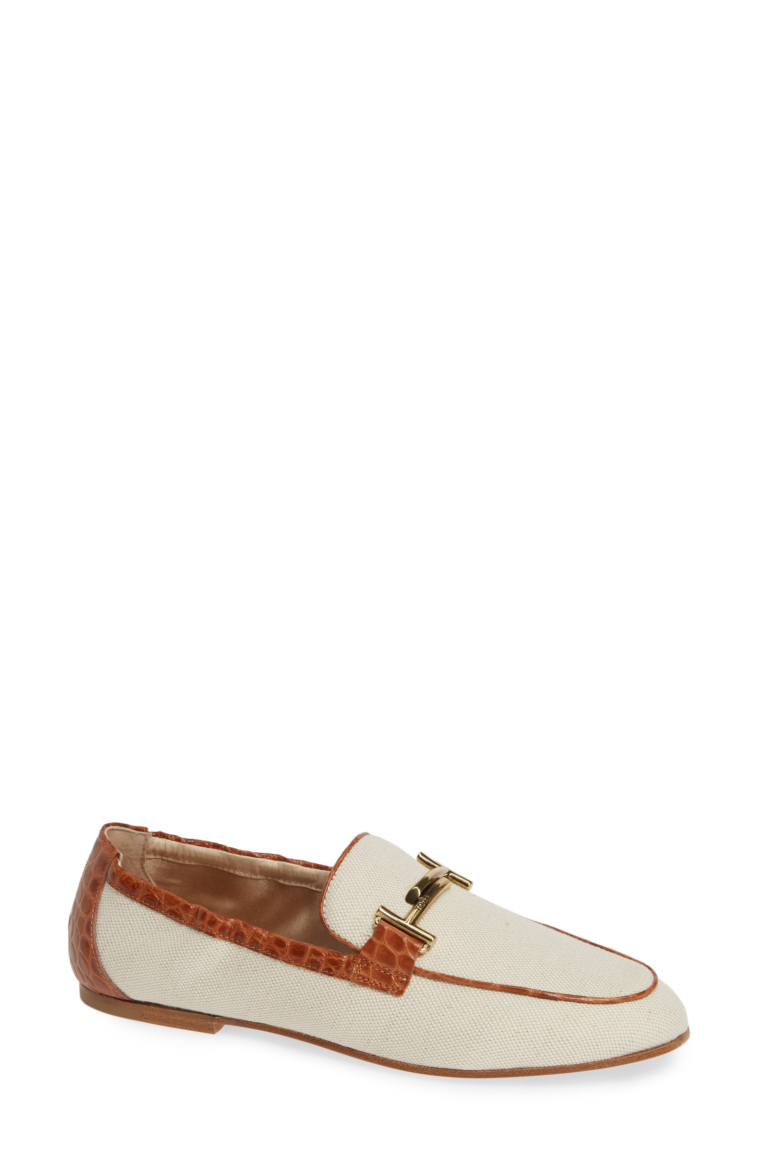TOD'S,                             Double-T Scrunch Loafer,                             Main thumbnail 1, color,                             STRIPE/ CARAMEL