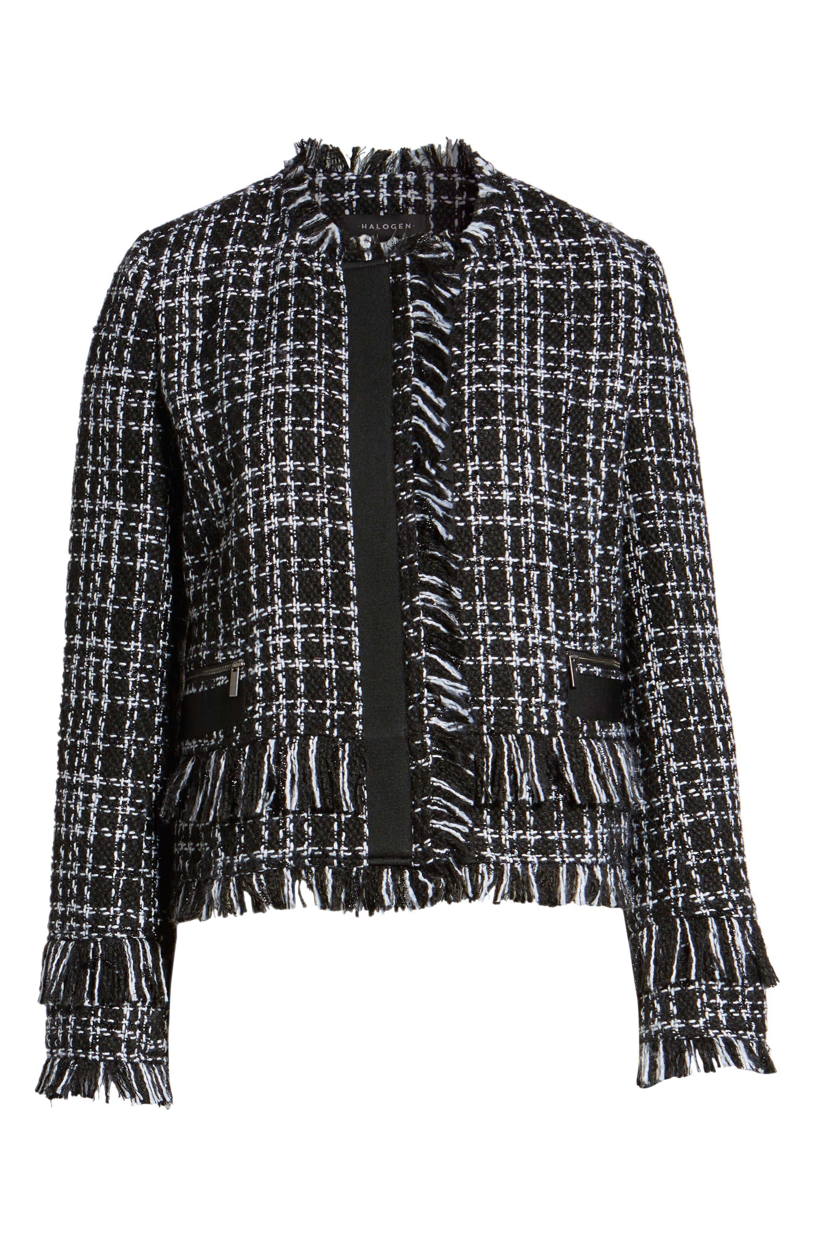 Tweed Jacket,                             Alternate thumbnail 6, color,                             BLACK- WHITE TWEED
