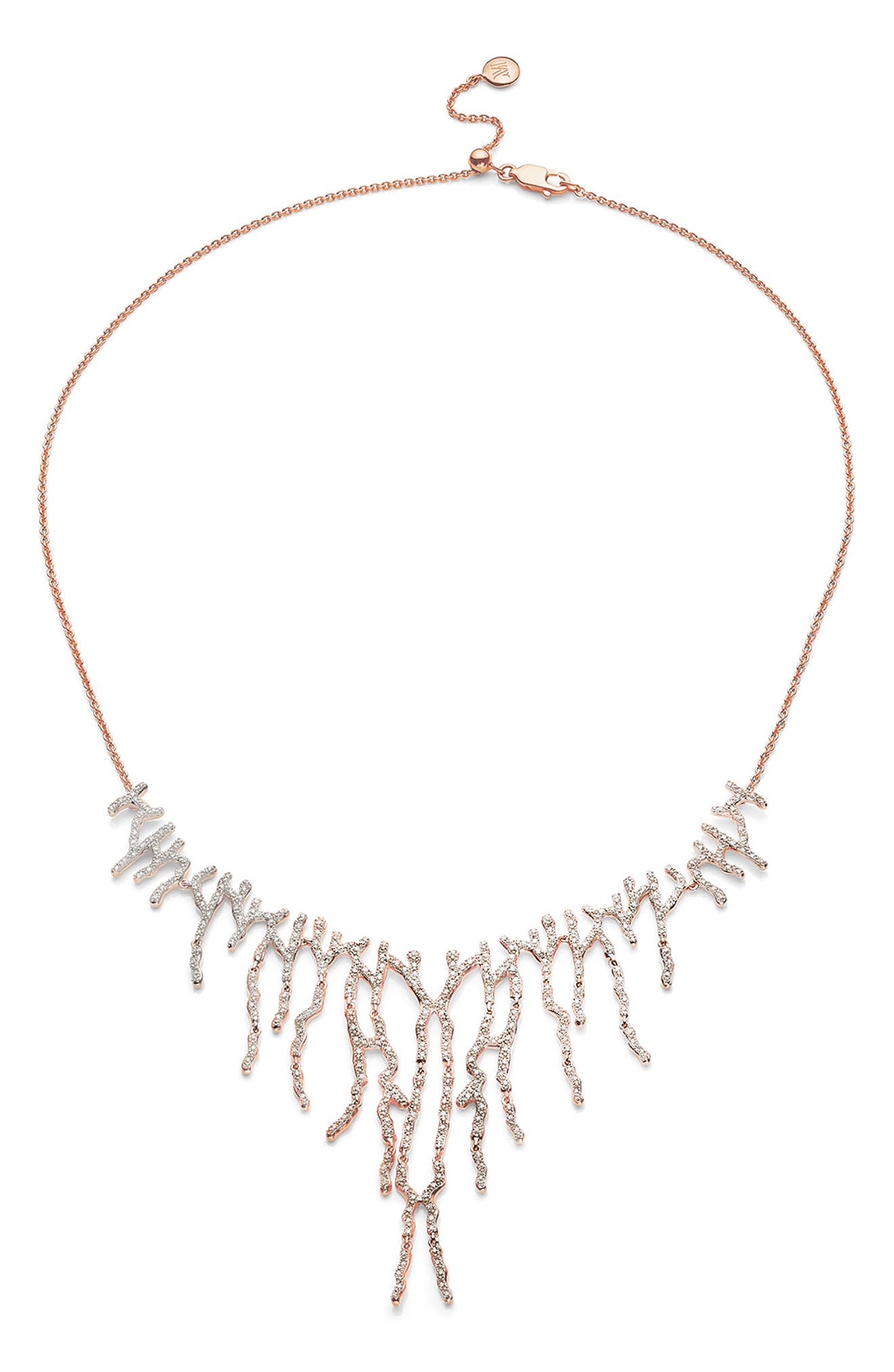 Riva Waterfall Cocktail Diamond Necklace,                         Main,                         color, ROSE GOLD/ DIAMOND