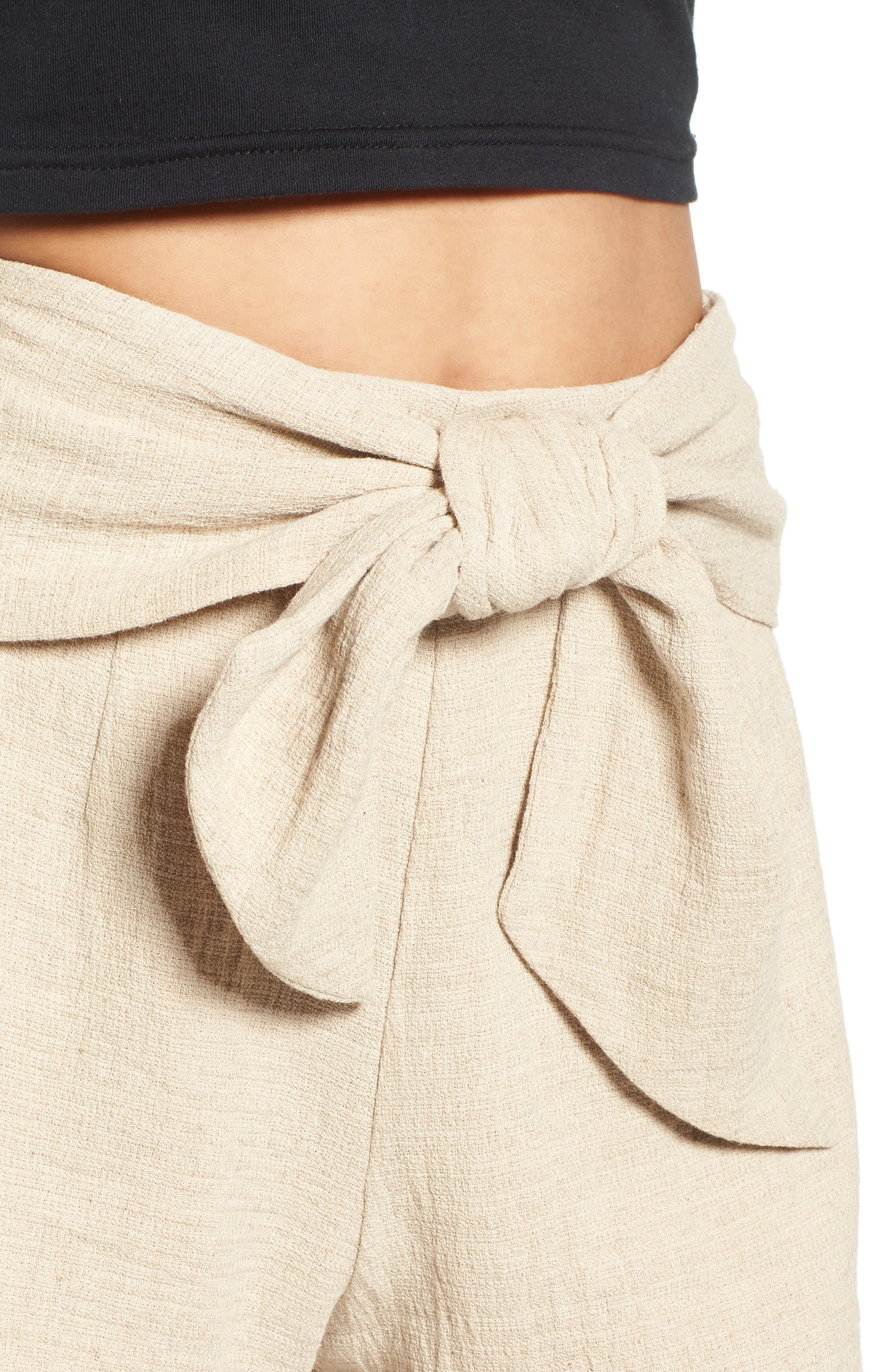 Tie Waist Linen & Cotton Shorts,                             Alternate thumbnail 4, color,                             250