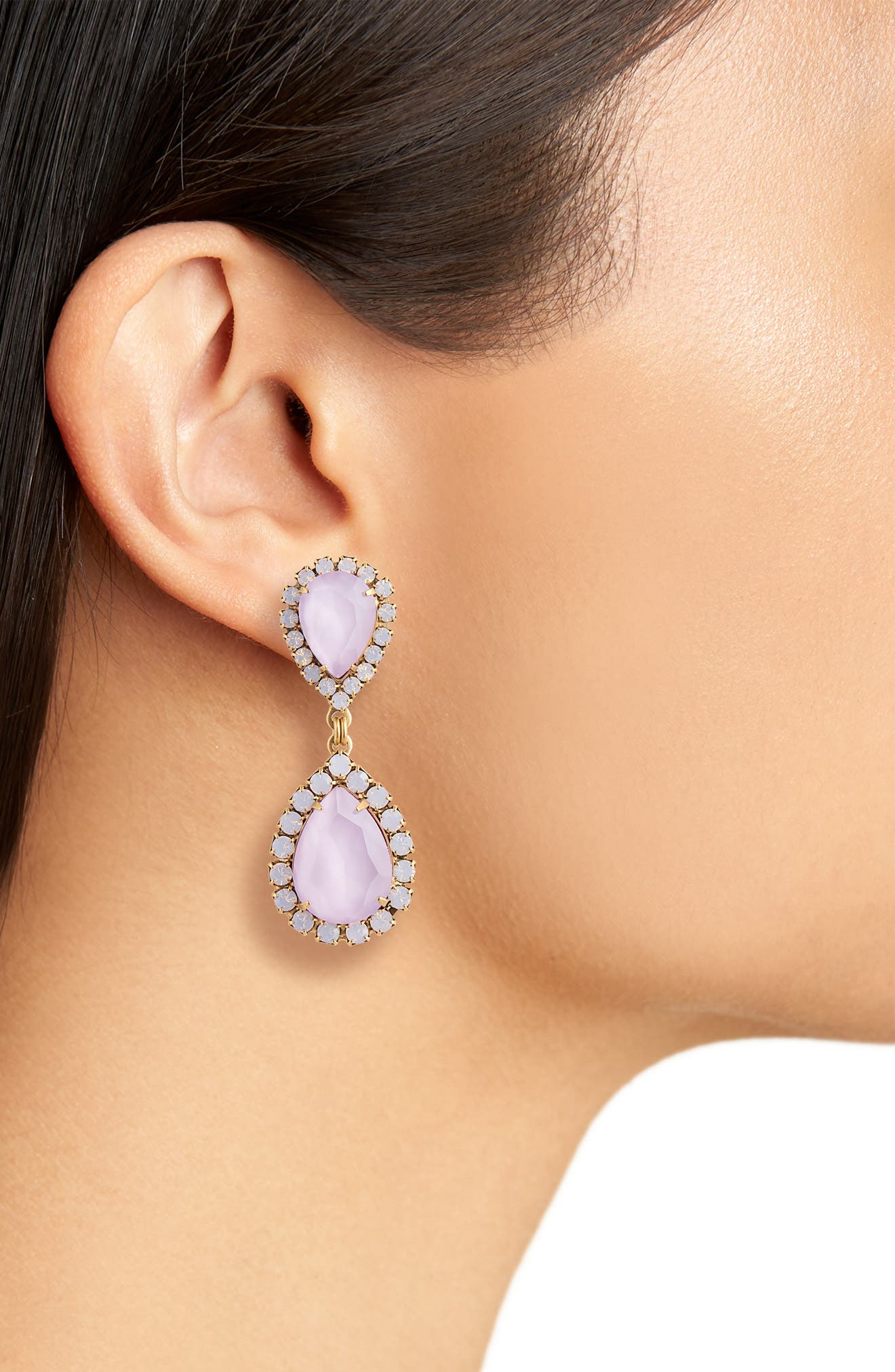 Abba Crystal Drop Earrings,                             Alternate thumbnail 2, color,                             ORCHID