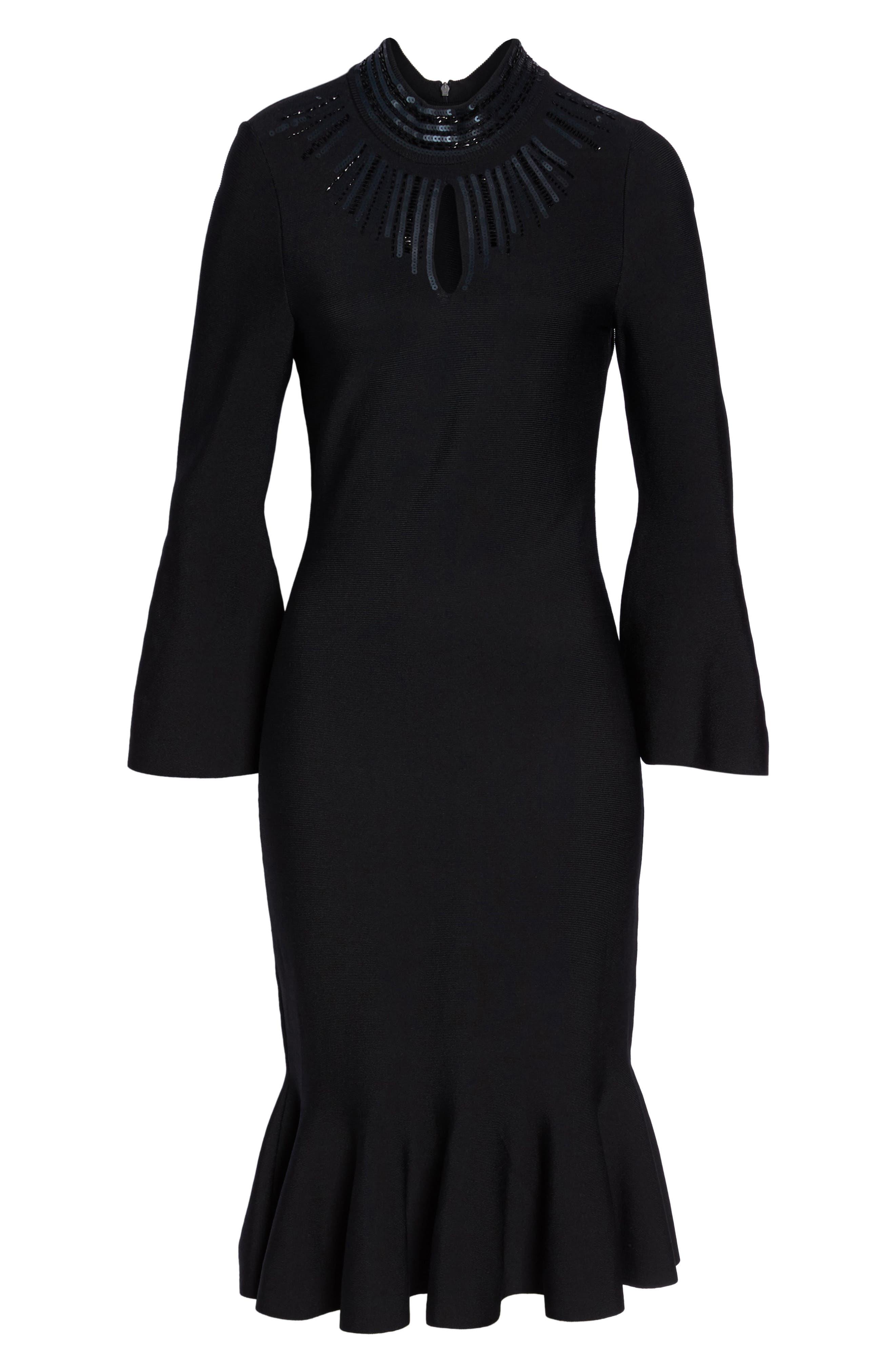 Sequin Midi Dress,                             Alternate thumbnail 6, color,                             004