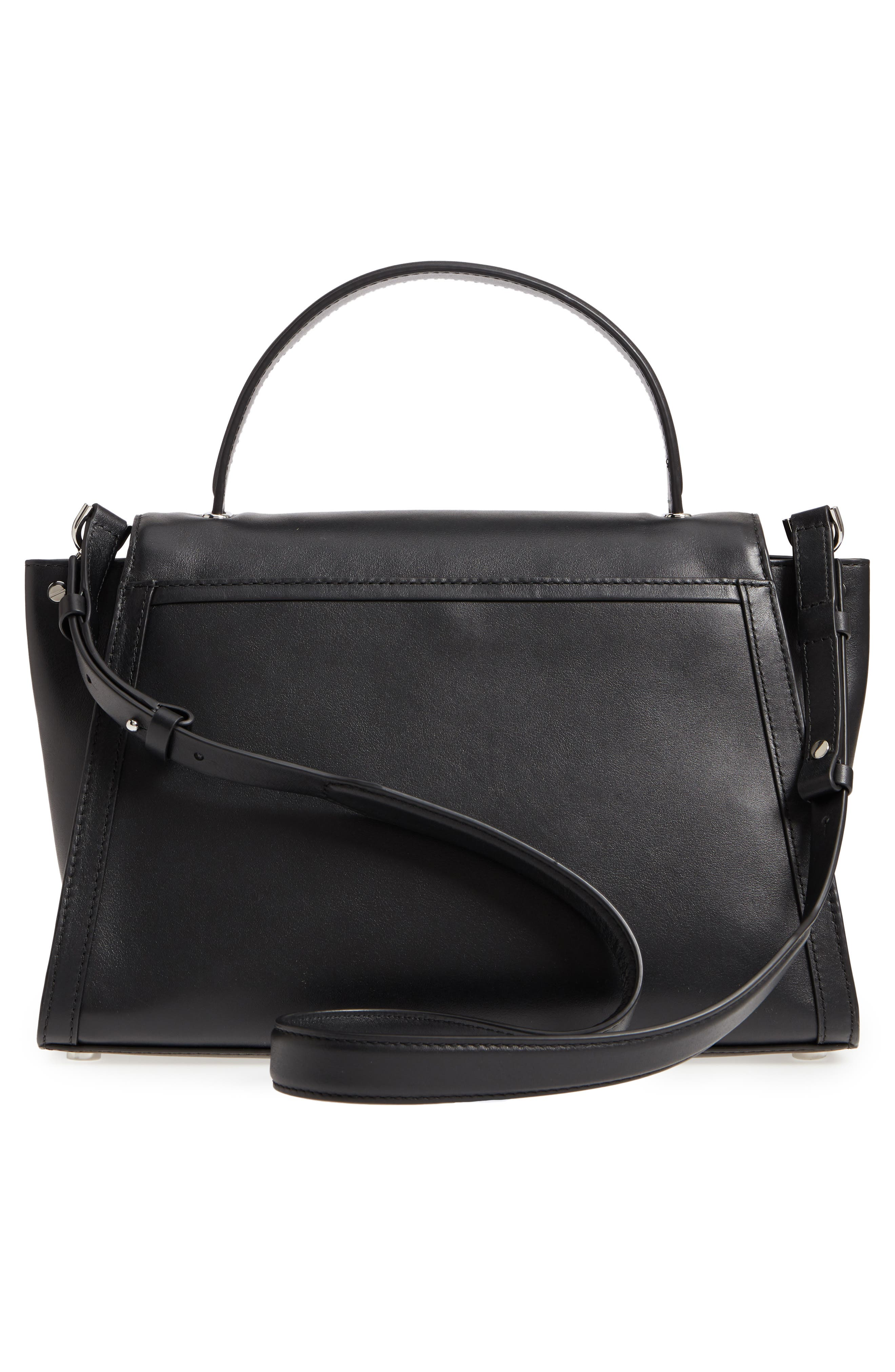 Large Whitney Leather Satchel,                             Alternate thumbnail 3, color,                             BLACK
