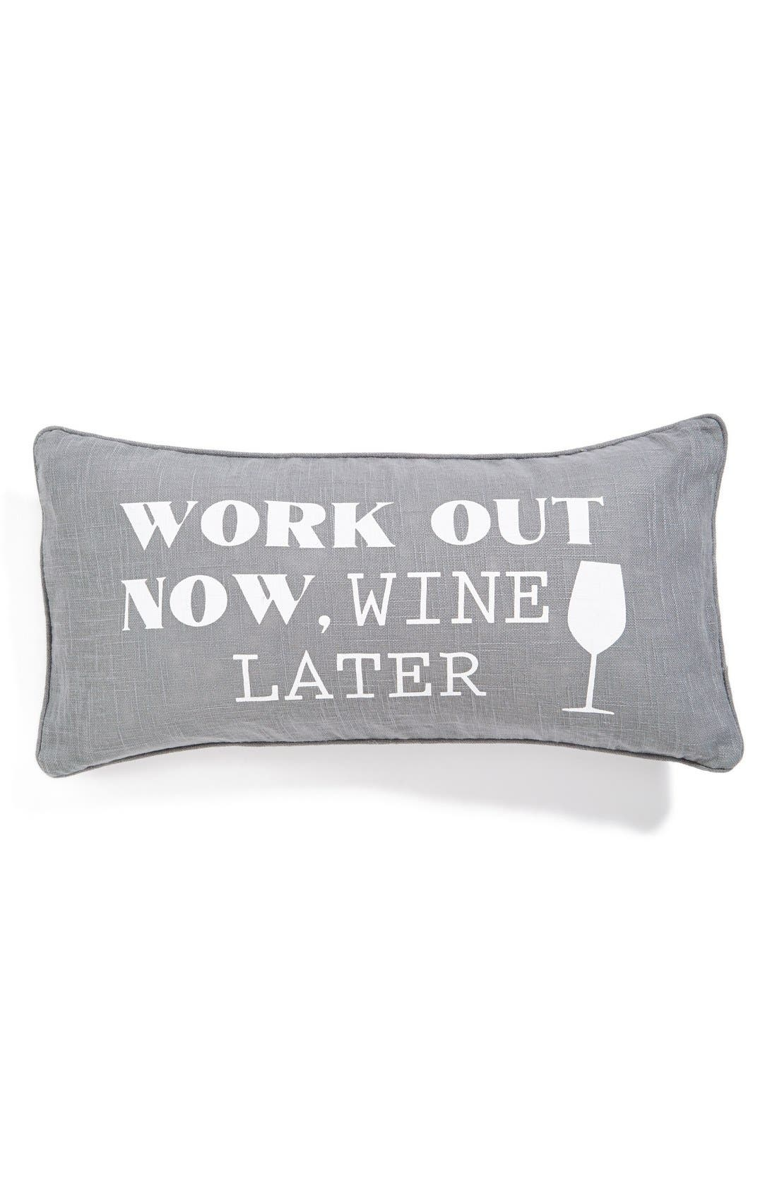 LEVTEX,                             'Work Out Now, Wine Later' Accent Pillow,                             Main thumbnail 1, color,                             020
