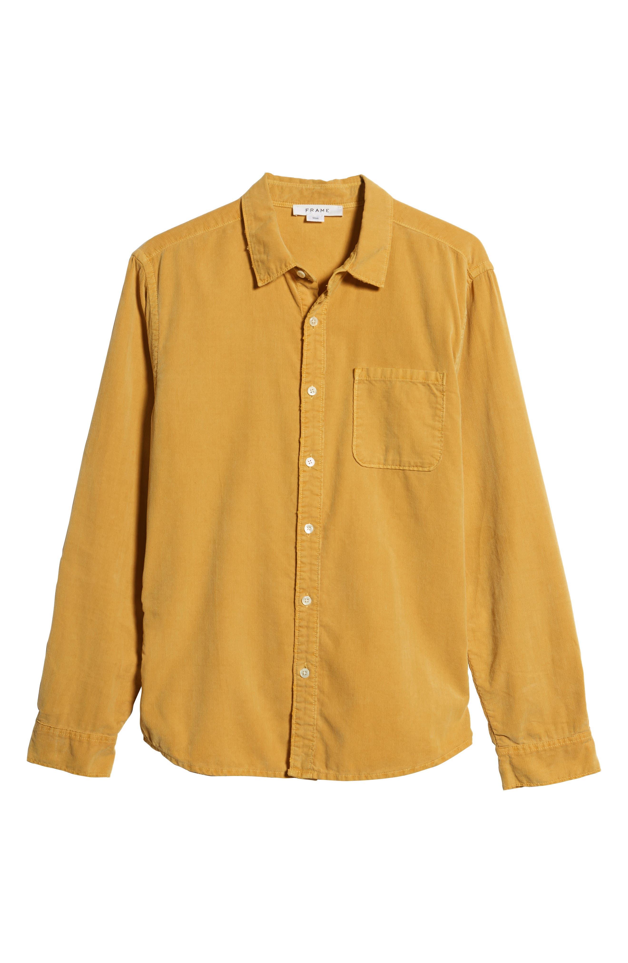 Slim Fit Corduroy Shirt,                             Alternate thumbnail 5, color,                             FADED GOLDEN GLOW