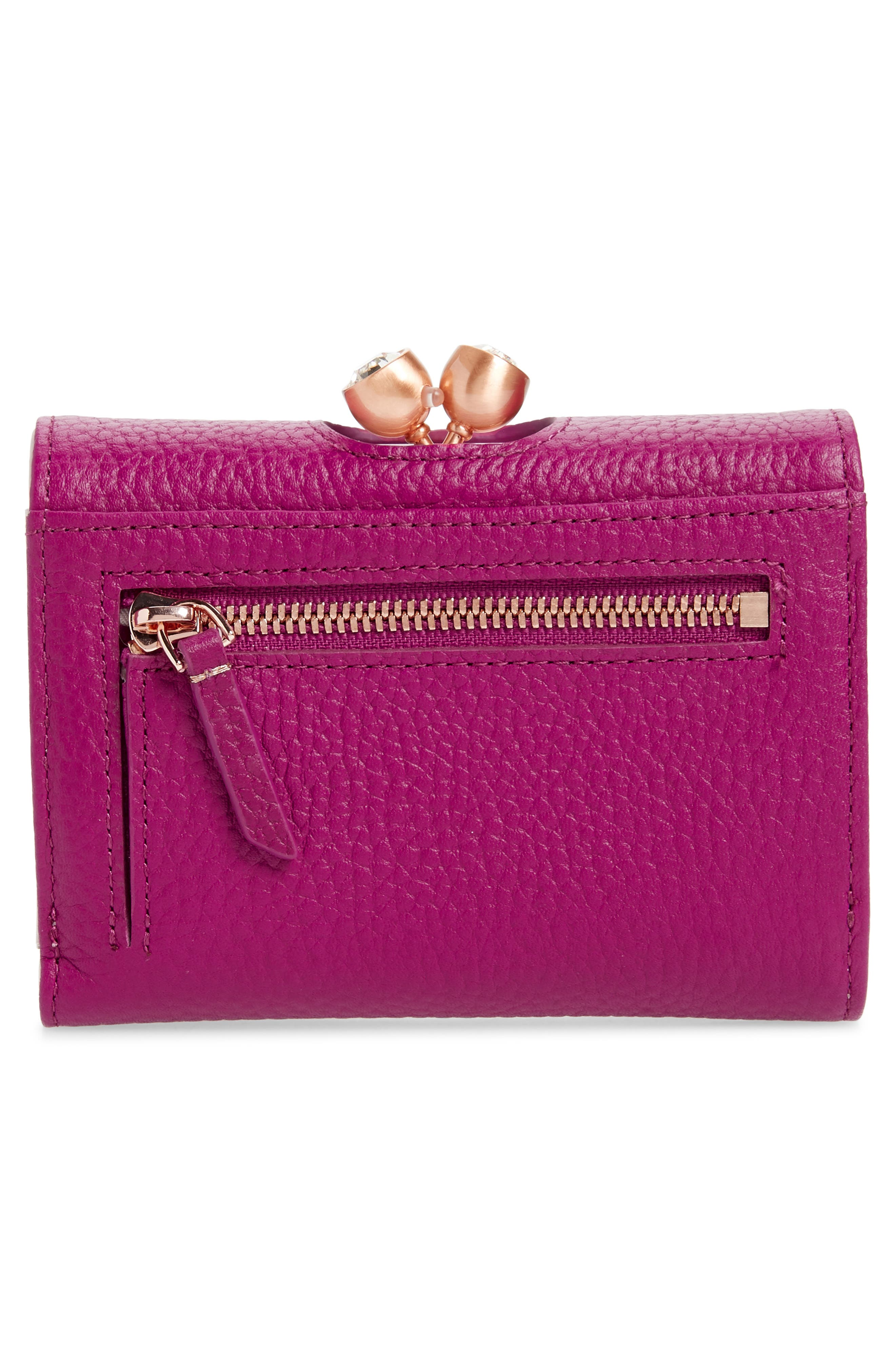 Valery Metallic Leather Bobble Wallet,                             Alternate thumbnail 4, color,                             BRIGHT PINK