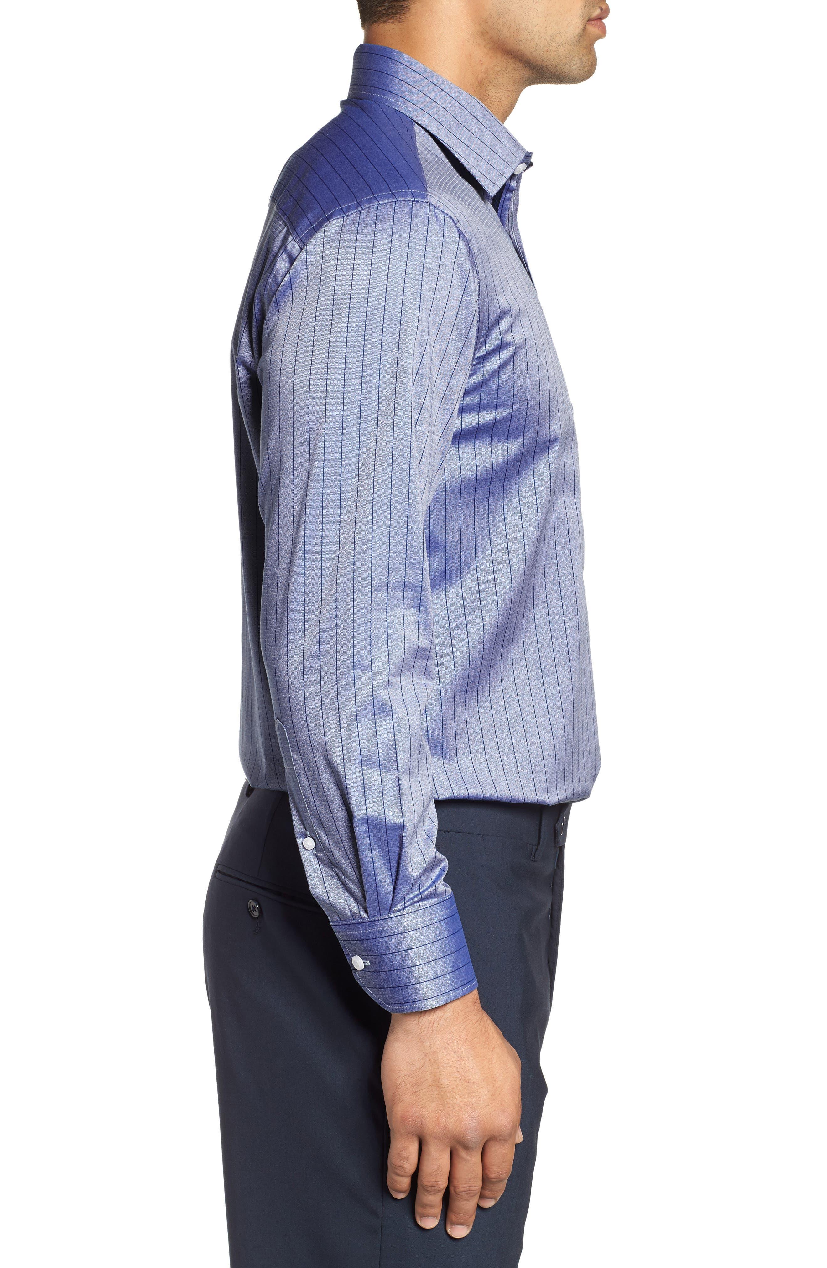 Regular Fit Stripe Dress Shirt,                             Alternate thumbnail 4, color,                             BLUE