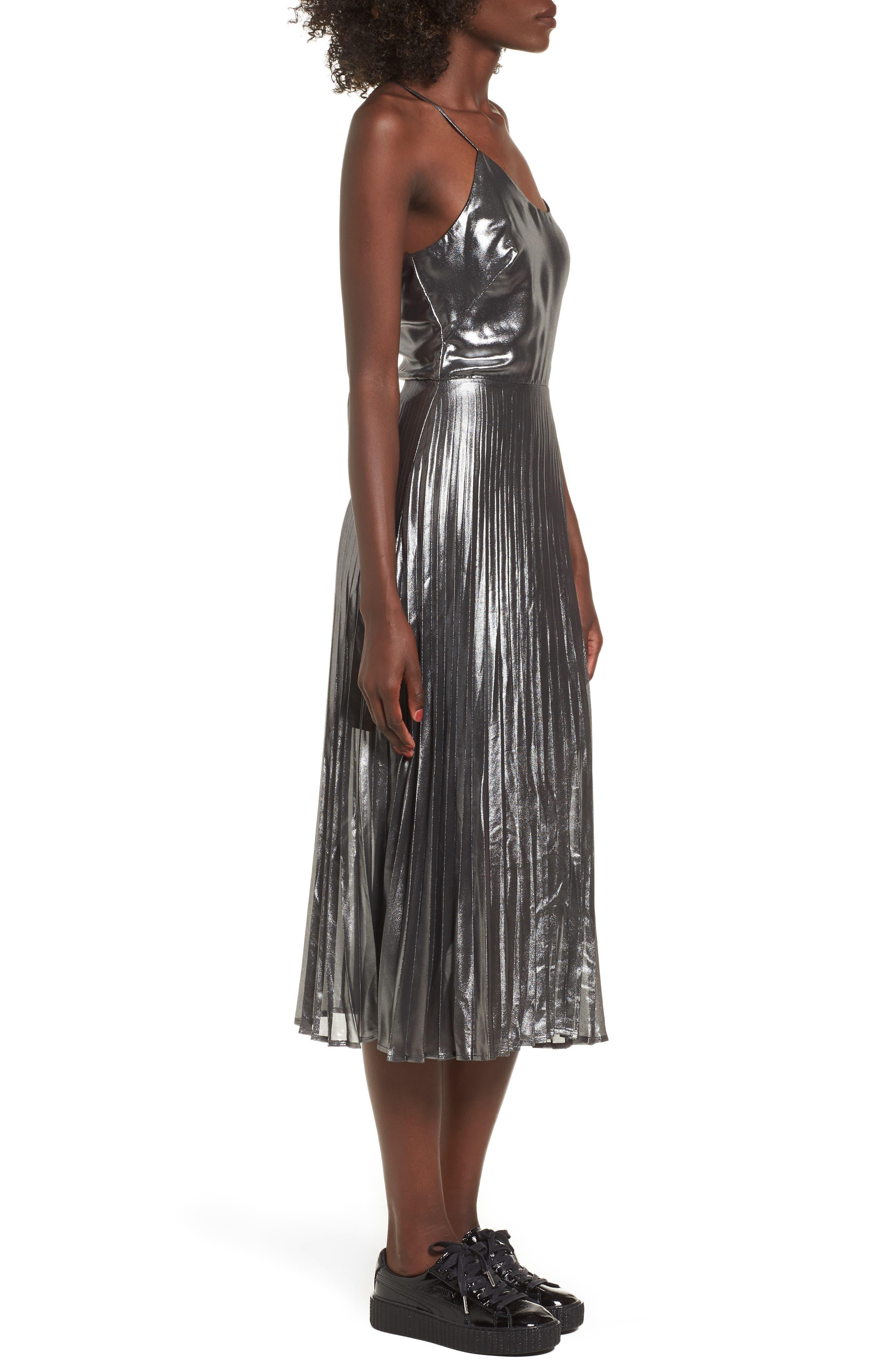 Metallic Pleated Midi Dress,                             Alternate thumbnail 3, color,                             001