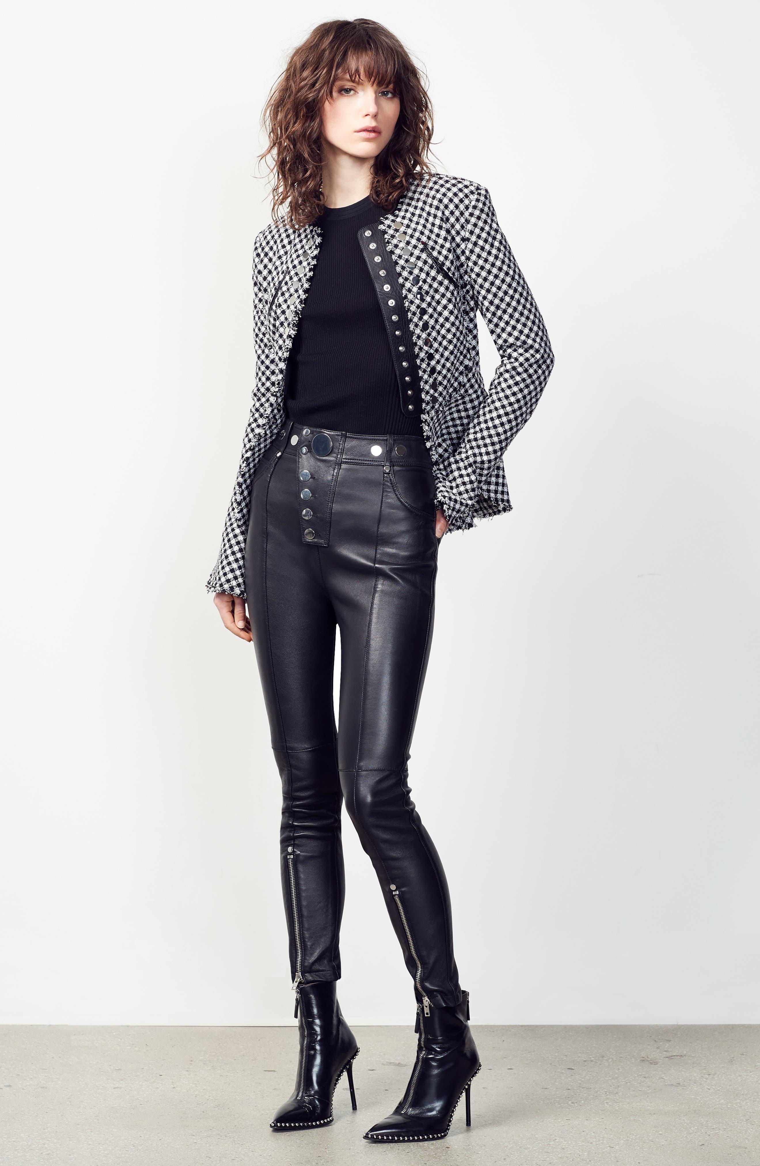High Waist Leather Pants,                             Alternate thumbnail 6, color,                             001