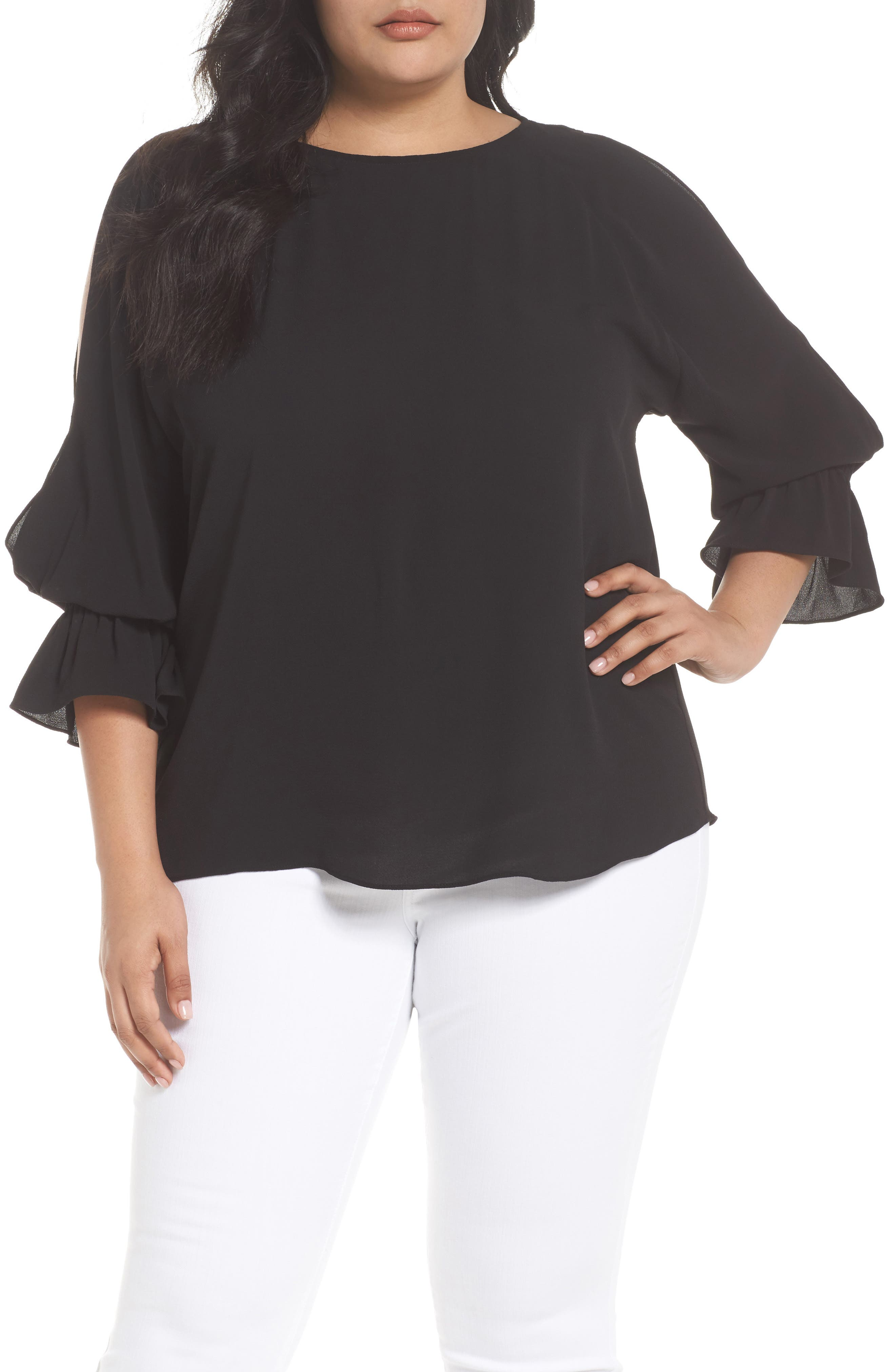 Cold Shoulder Flare Cuff Top,                             Main thumbnail 1, color,                             RICH BLACK