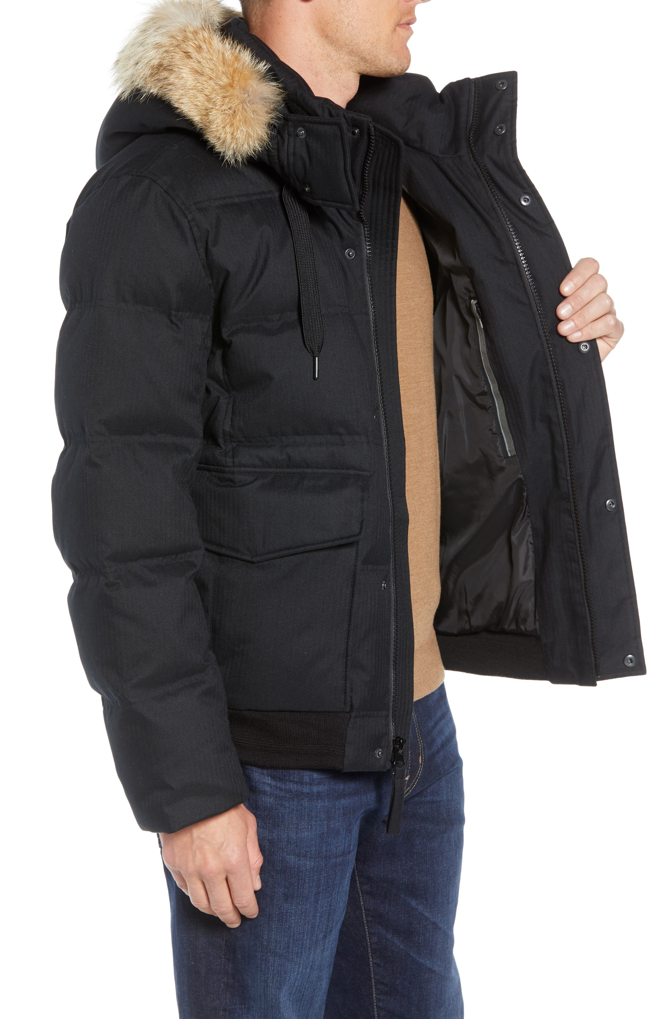 Bohlen Down & Feather Bomber Jacket with Removable Genuine Coyote Fur Trim Hood,                             Alternate thumbnail 4, color,                             BLACK