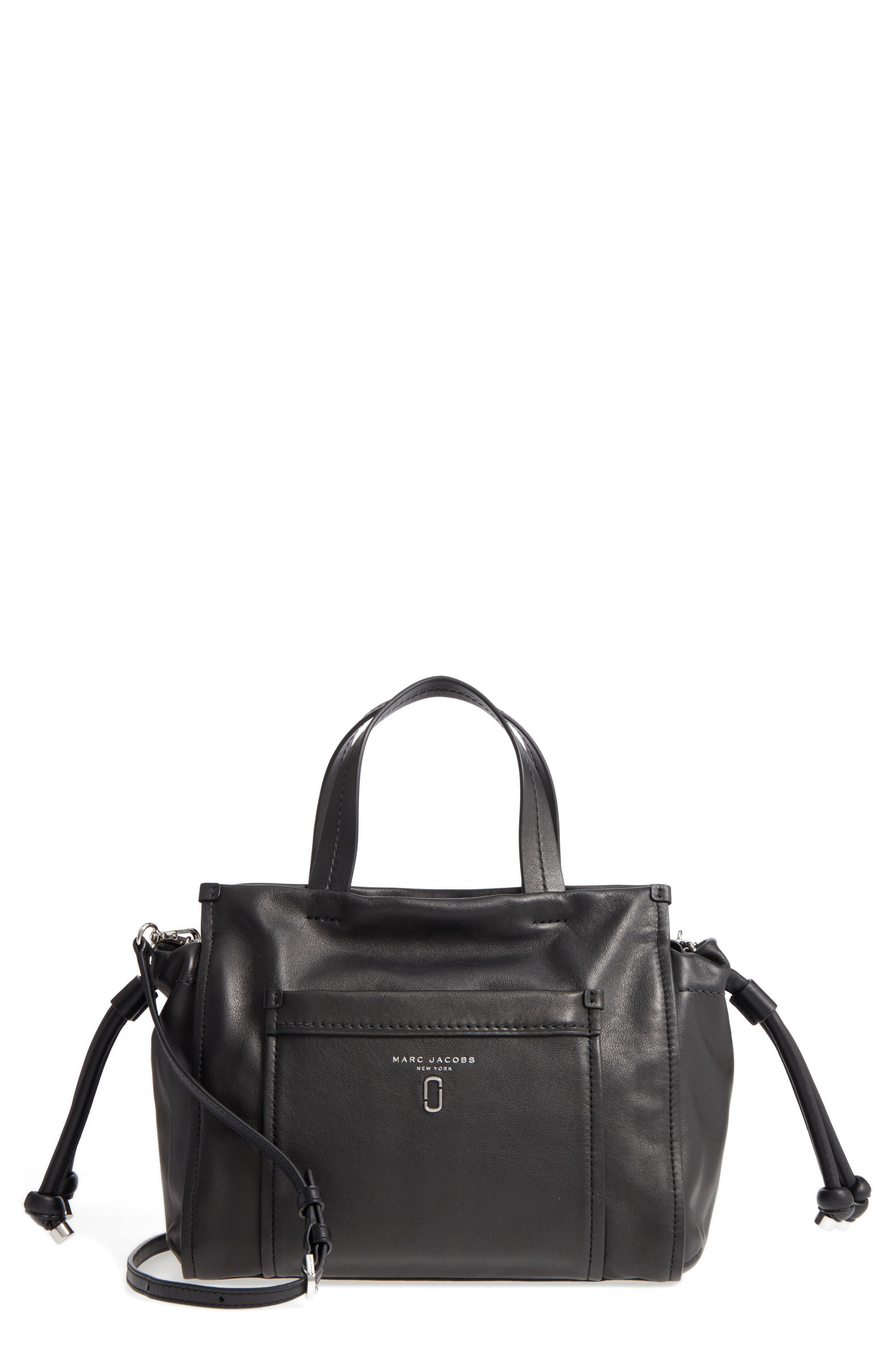 Tied Up Leather Shoulder/Crossbody Tote,                         Main,                         color, 001