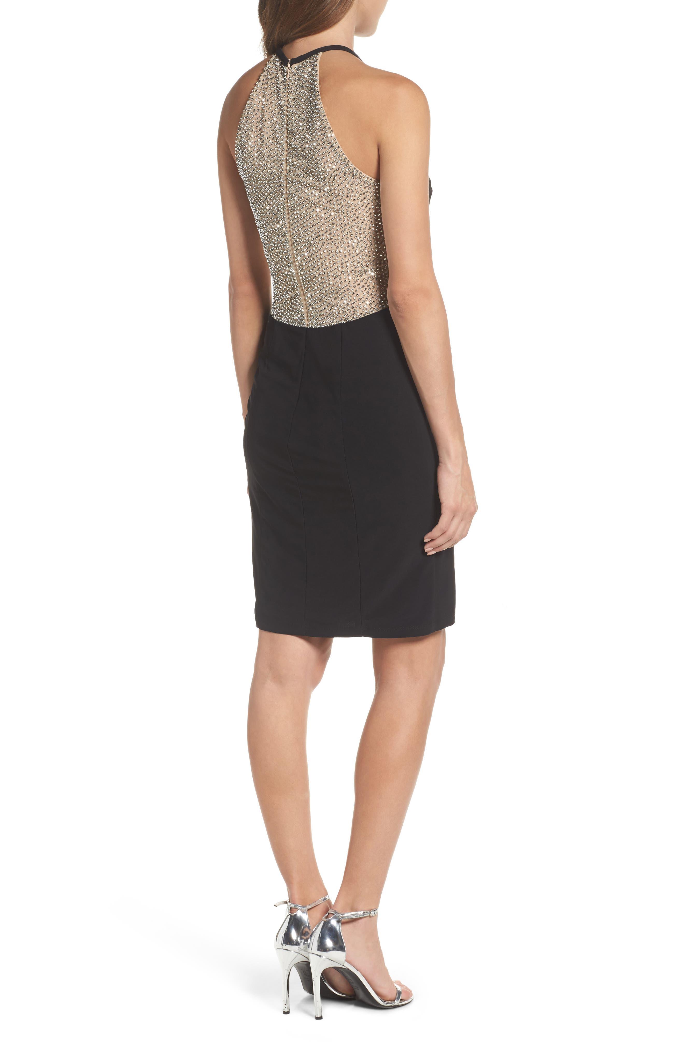 Beaded Mesh & Jersey Sheath Dress,                             Alternate thumbnail 2, color,                             009