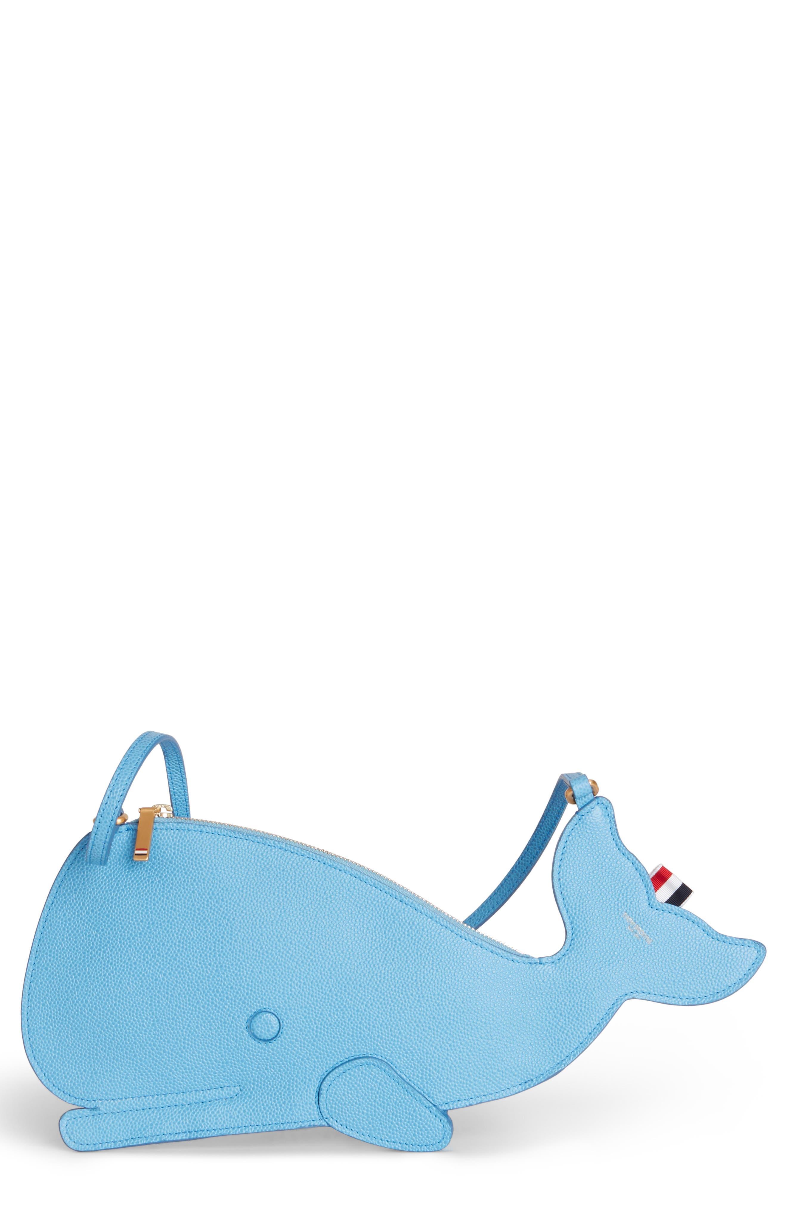 Whale Flat Icon Leather Shoulder Bag, Main, color, PALE BLUE