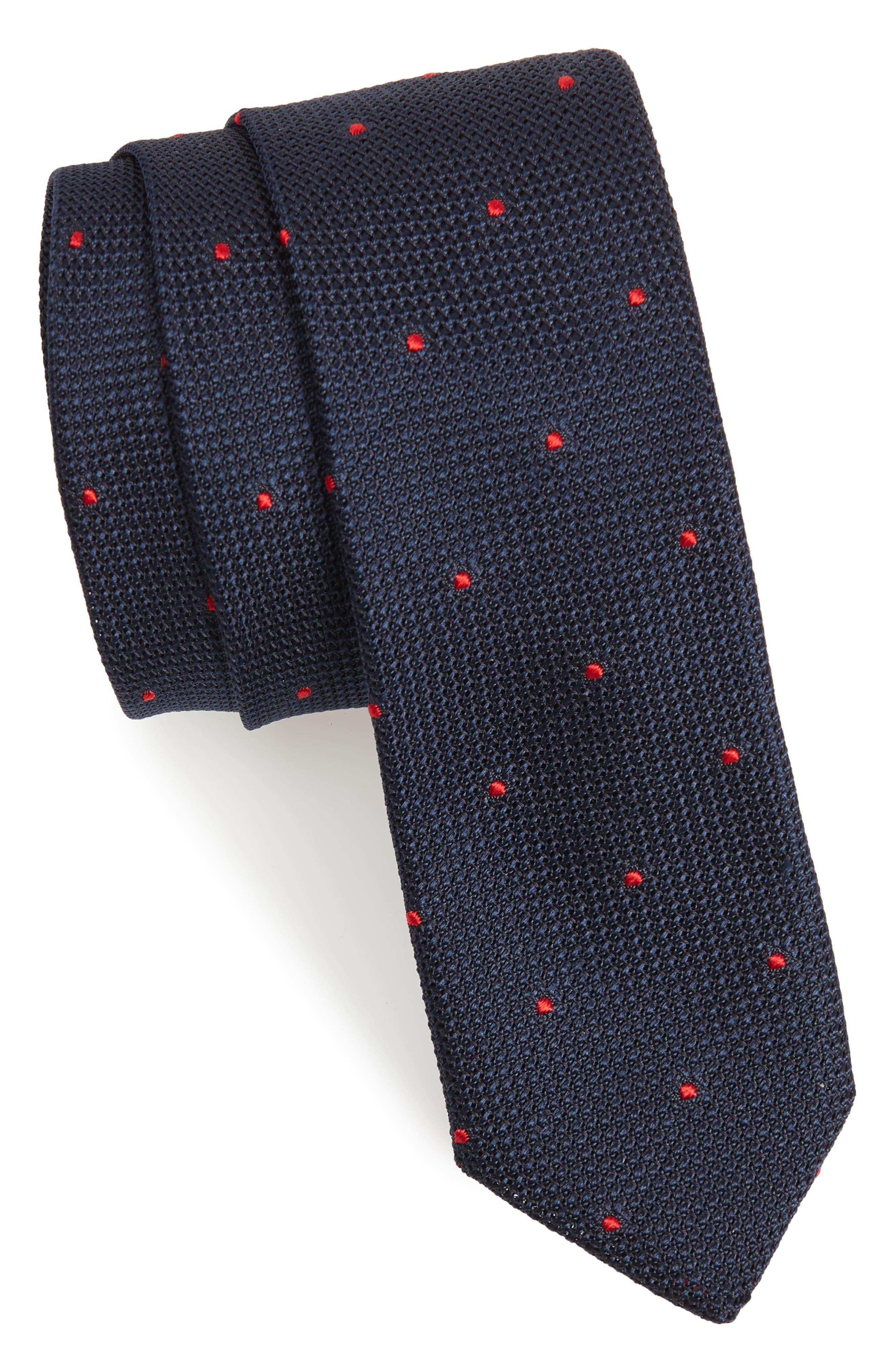 Dot Silk Skinny Tie,                             Main thumbnail 1, color,                             NAVY/ RED