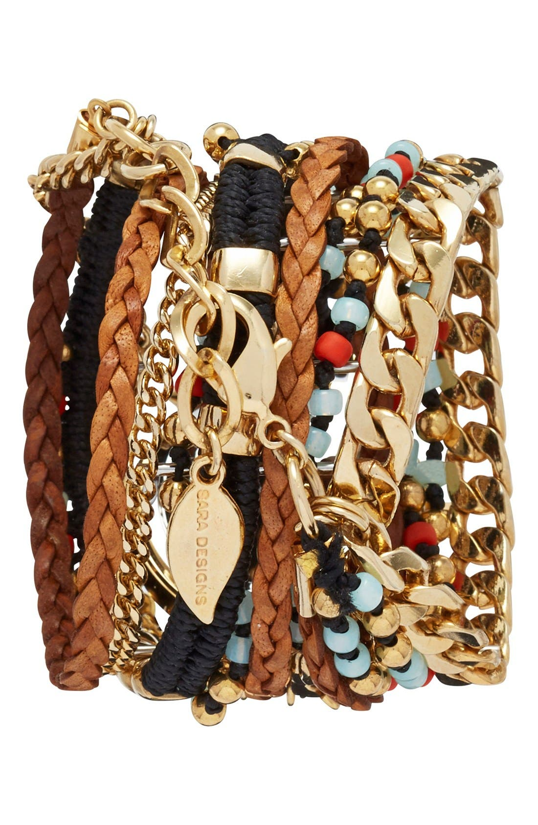Bead & Chain Leather Wrap Watch, 33mm,                             Alternate thumbnail 2, color,                             001