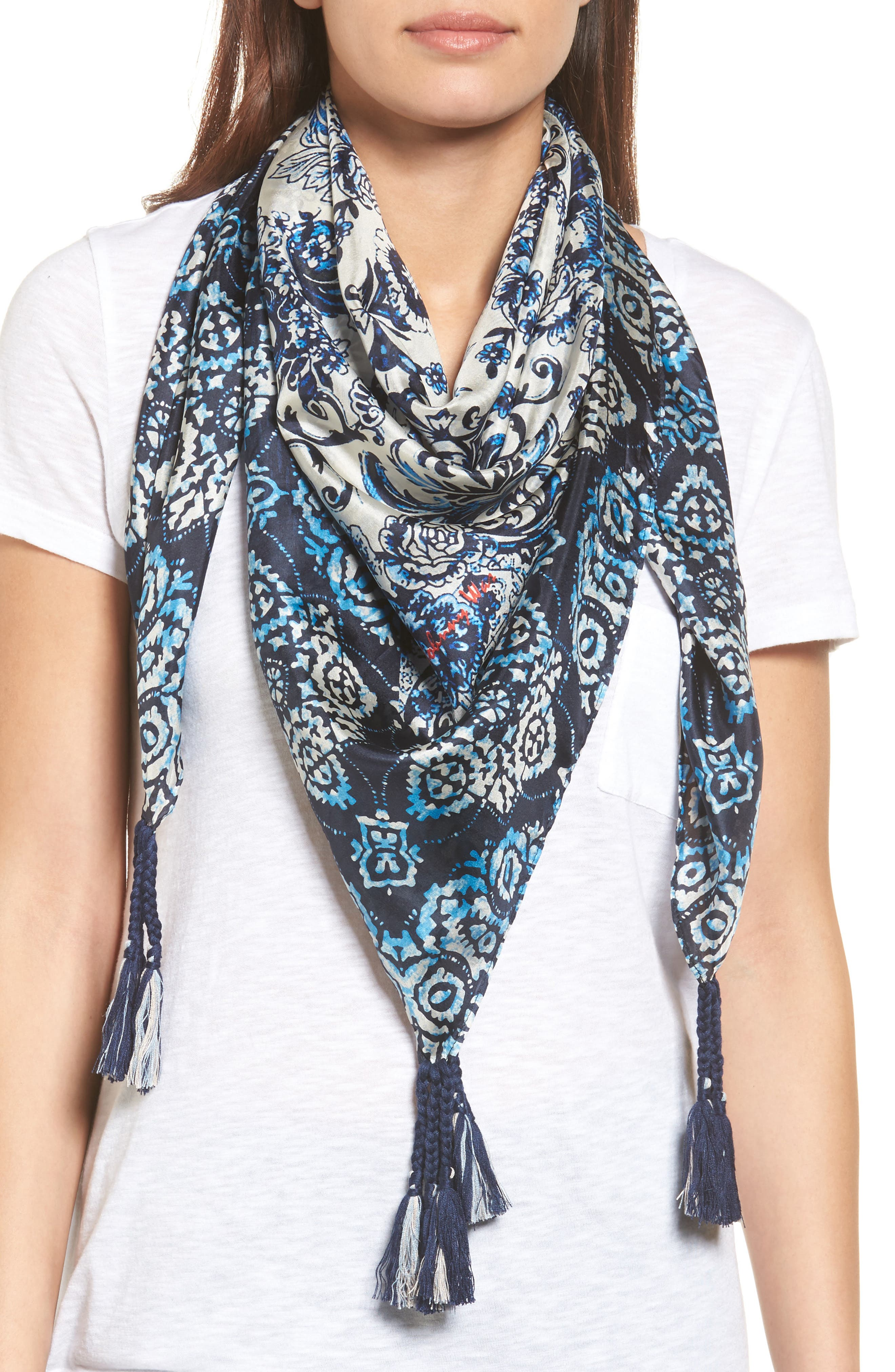 Flores Silk Square Scarf,                         Main,                         color, 400