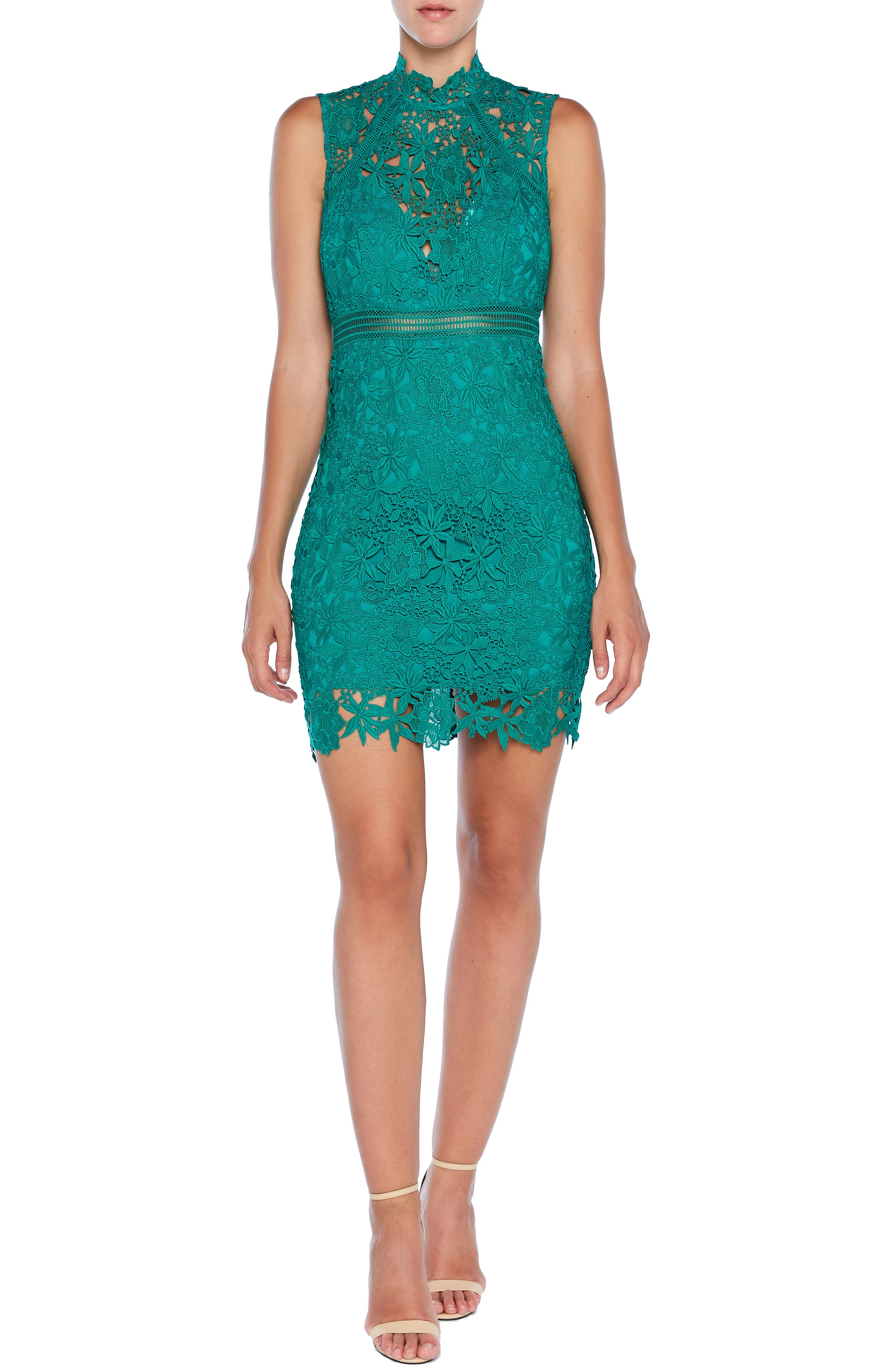 Bardot Paris Lace Body-Con Cocktail Dress, Green