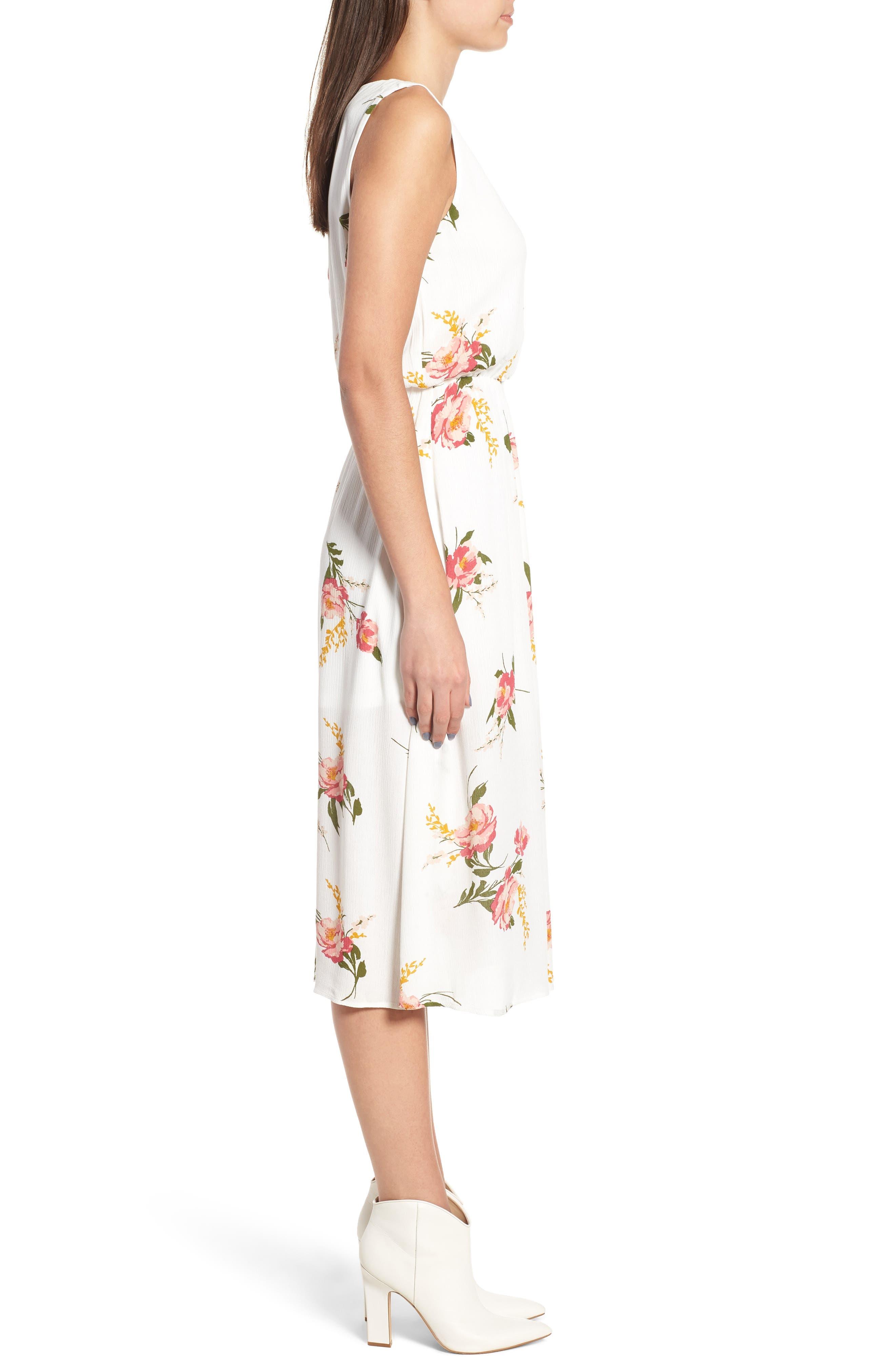 Sleeveless Blouson Midi Dress,                             Alternate thumbnail 3, color,                             900