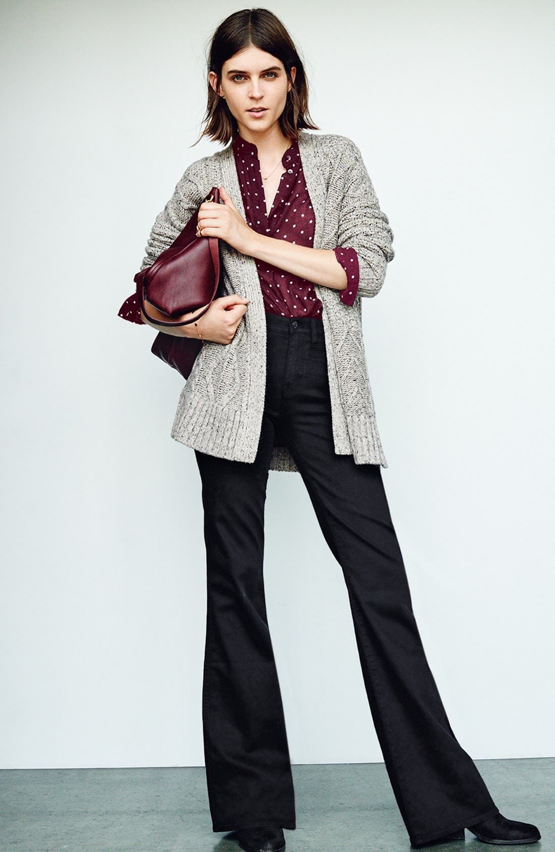 Marled Panel Stitch Open Front Cardigan,                             Alternate thumbnail 6, color,                             250