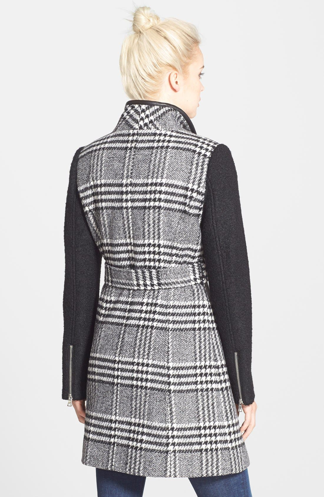 Bouclé Sleeve Plaid Wrap Coat,                             Alternate thumbnail 4, color,                             011