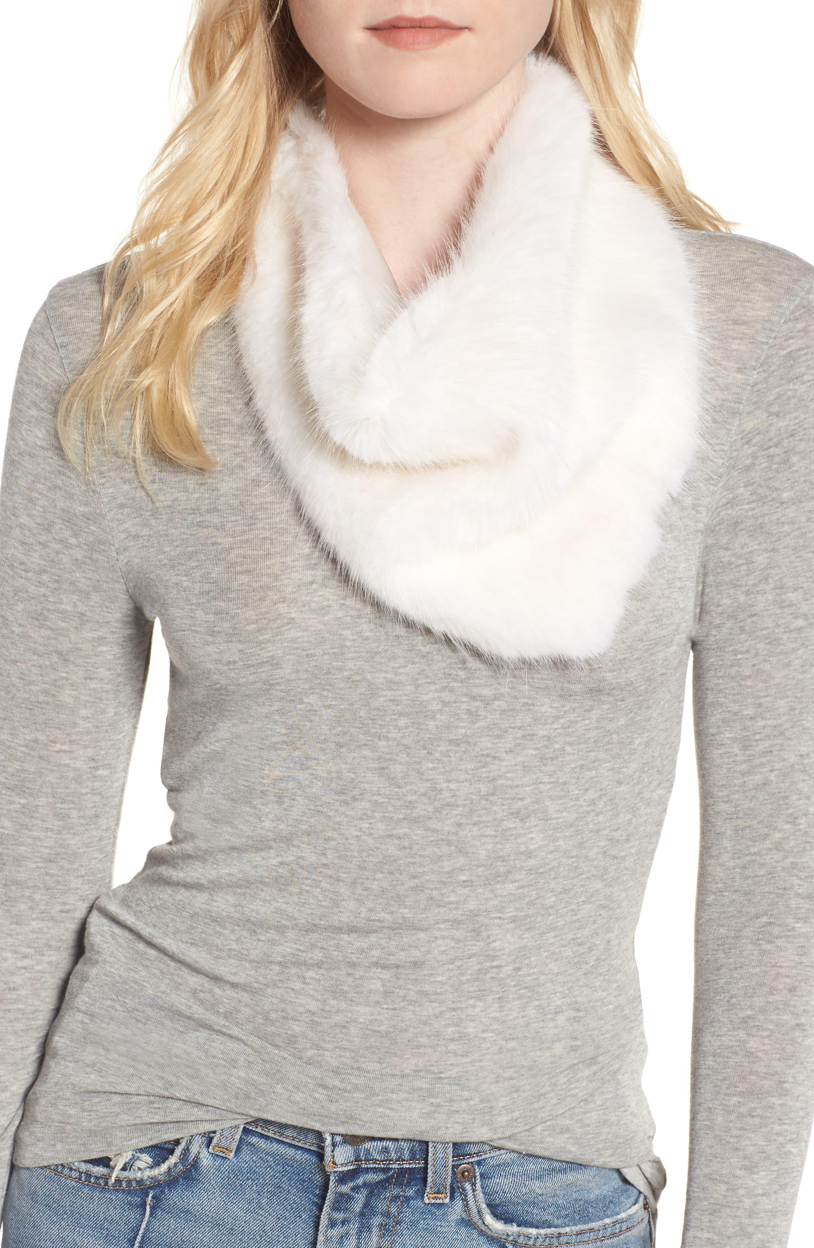 Triangle Faux Fur Scarf,                         Main,                         color, 100
