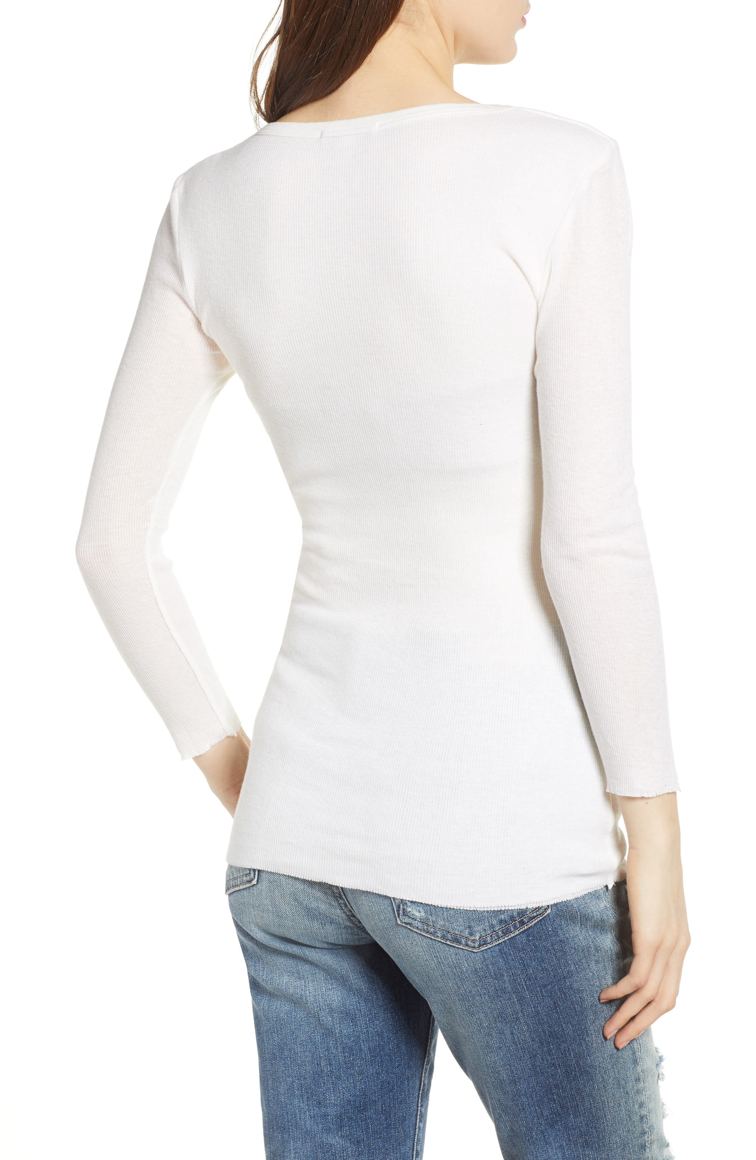 Ribbed Cotton & Cashmere Henley,                             Alternate thumbnail 4, color,