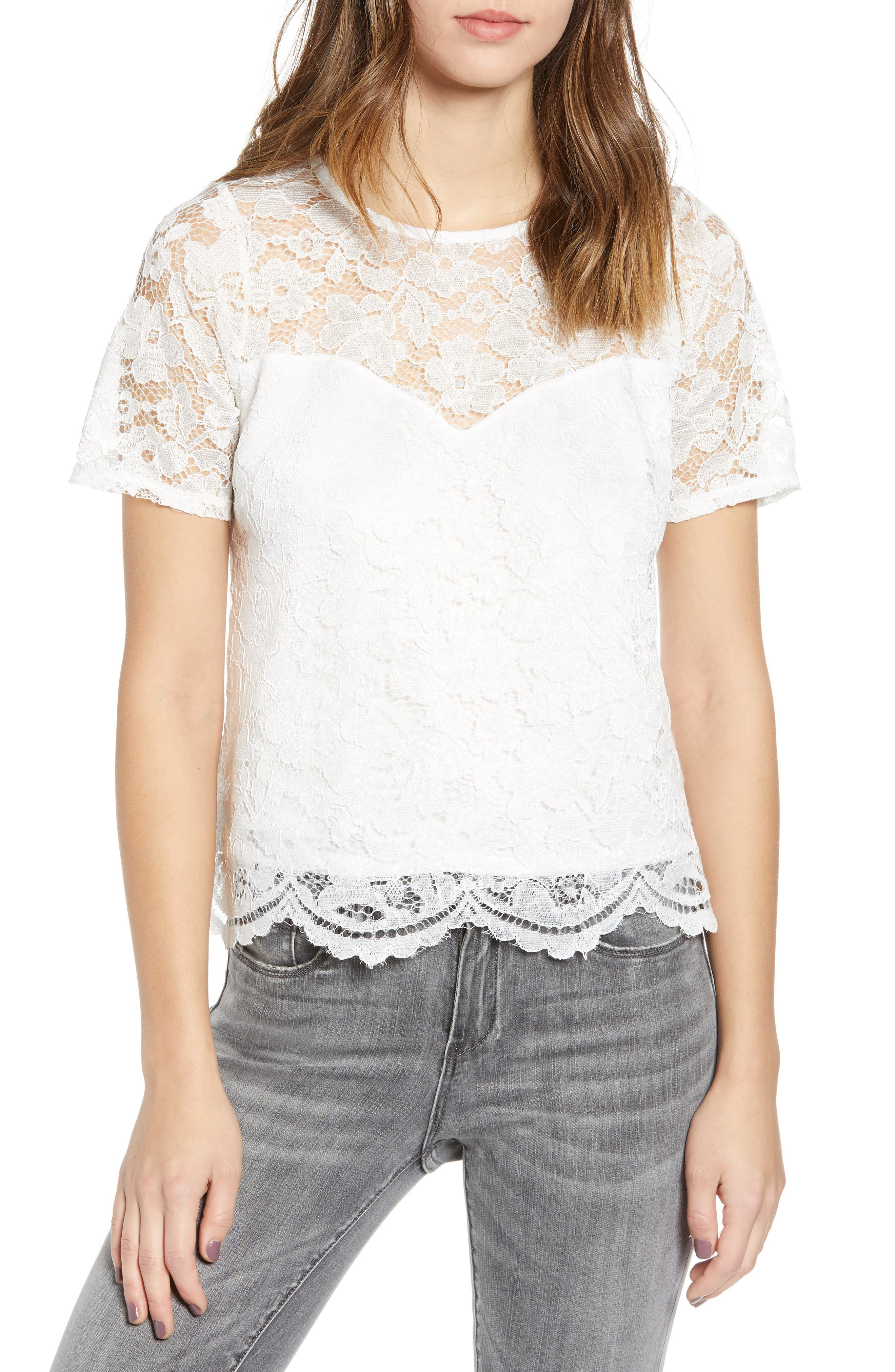 Leith Scalloped Lace Tee, Ivory