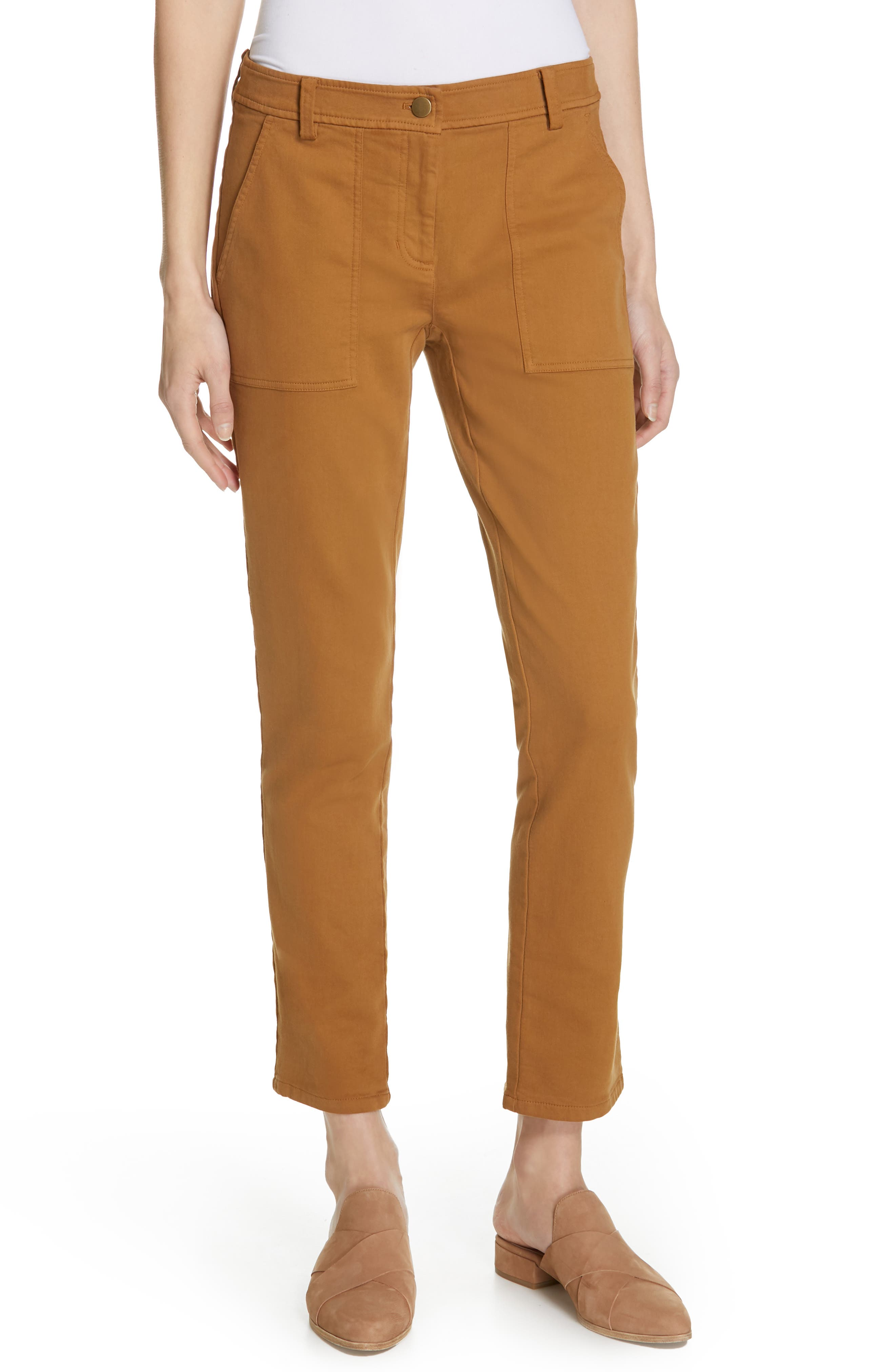 EILEEN FISHER Slim Stretch Cotton Pants, Main, color, DARK CLAY