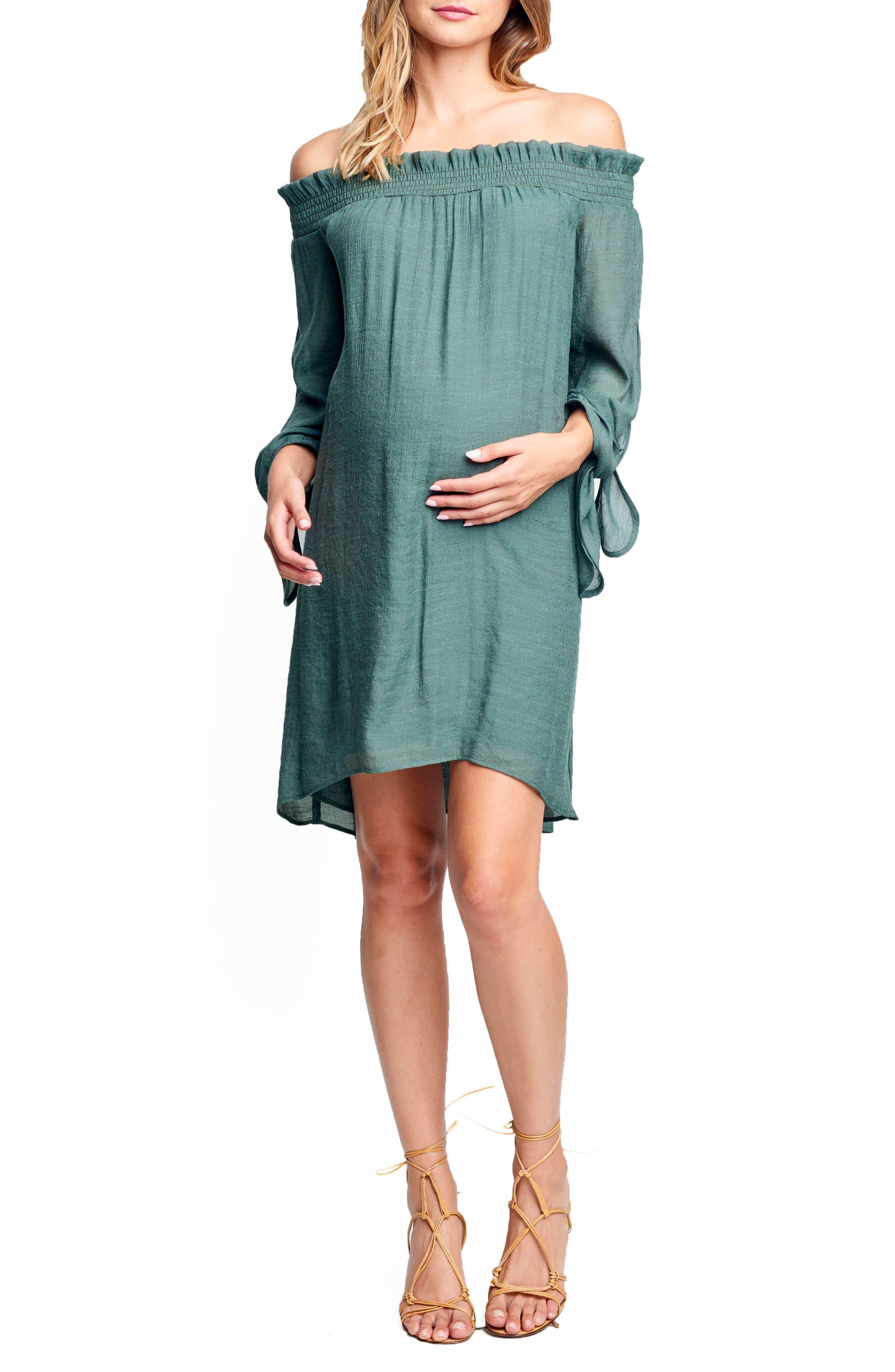 Maternal America Juliet Off The Shoulder Maternity Dress, Green