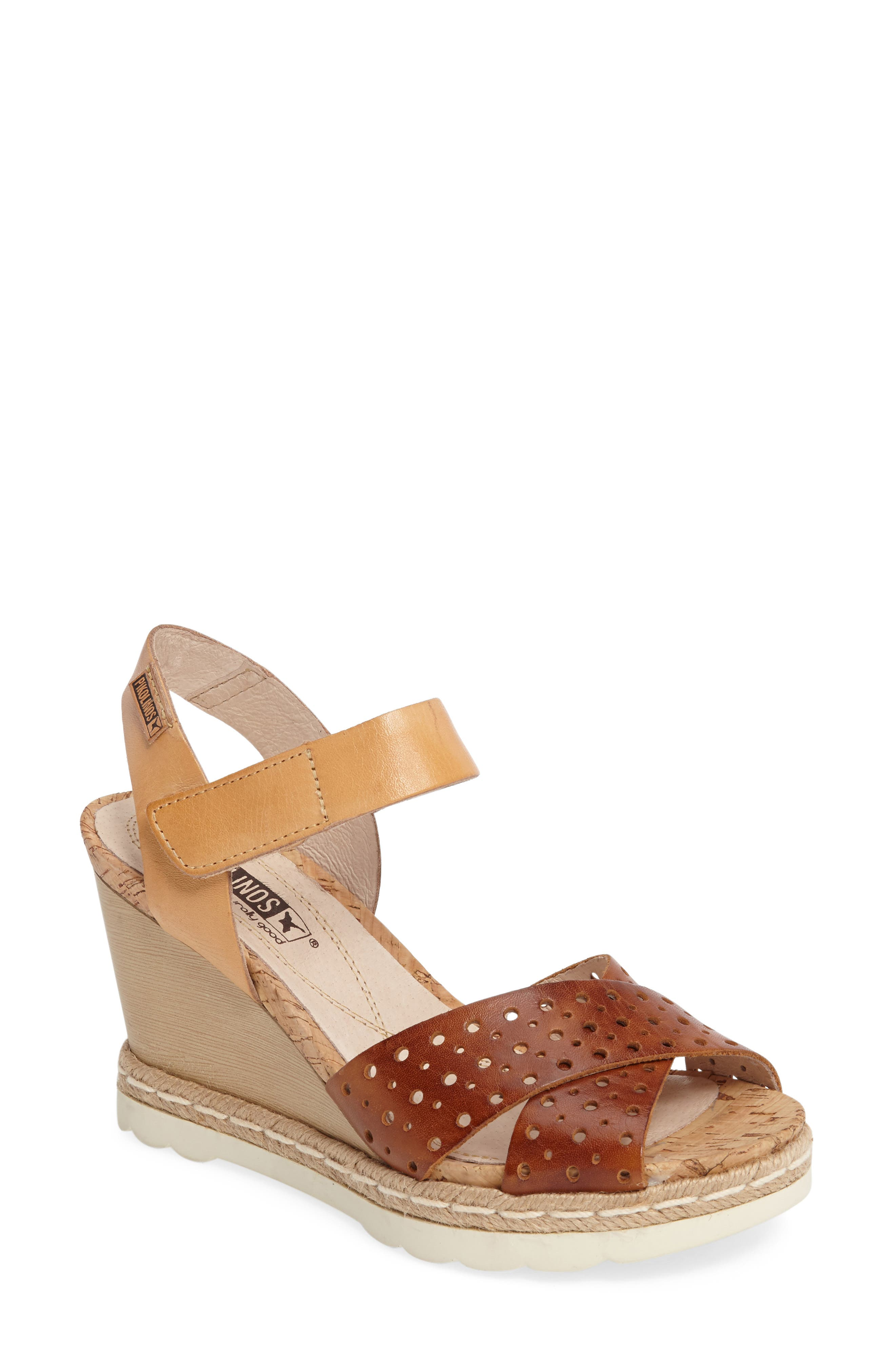 Bali Wedge Sandal,                             Main thumbnail 1, color,                             BRANDY CAMEL LEATHER