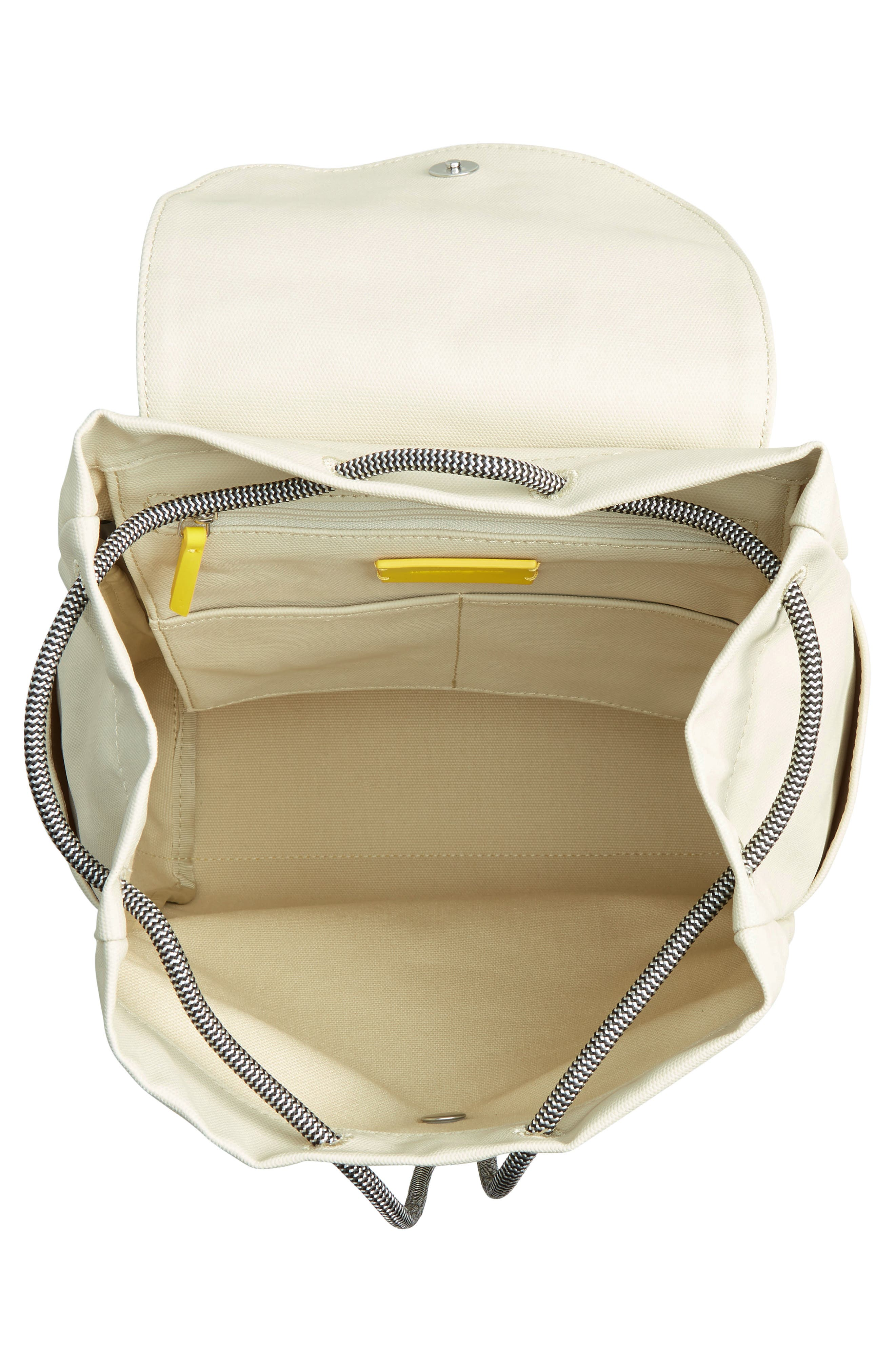 Penny Flap Backpack,                             Alternate thumbnail 4, color,                             IVORY BIRCH/YELLOW
