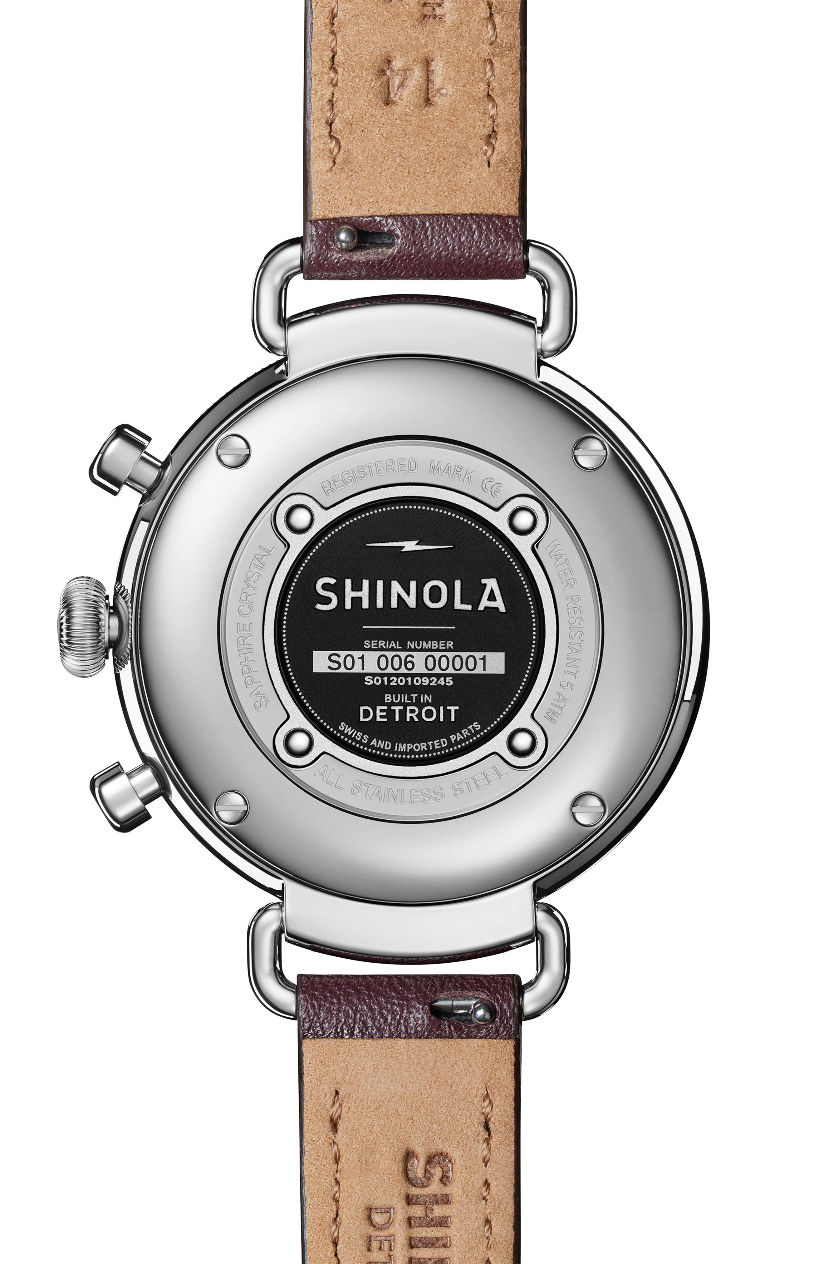 'The Canfield Chrono' Leather Strap Watch, 38mm,                             Alternate thumbnail 2, color,                             PURPLE/ PLUM MOP/ SILVER