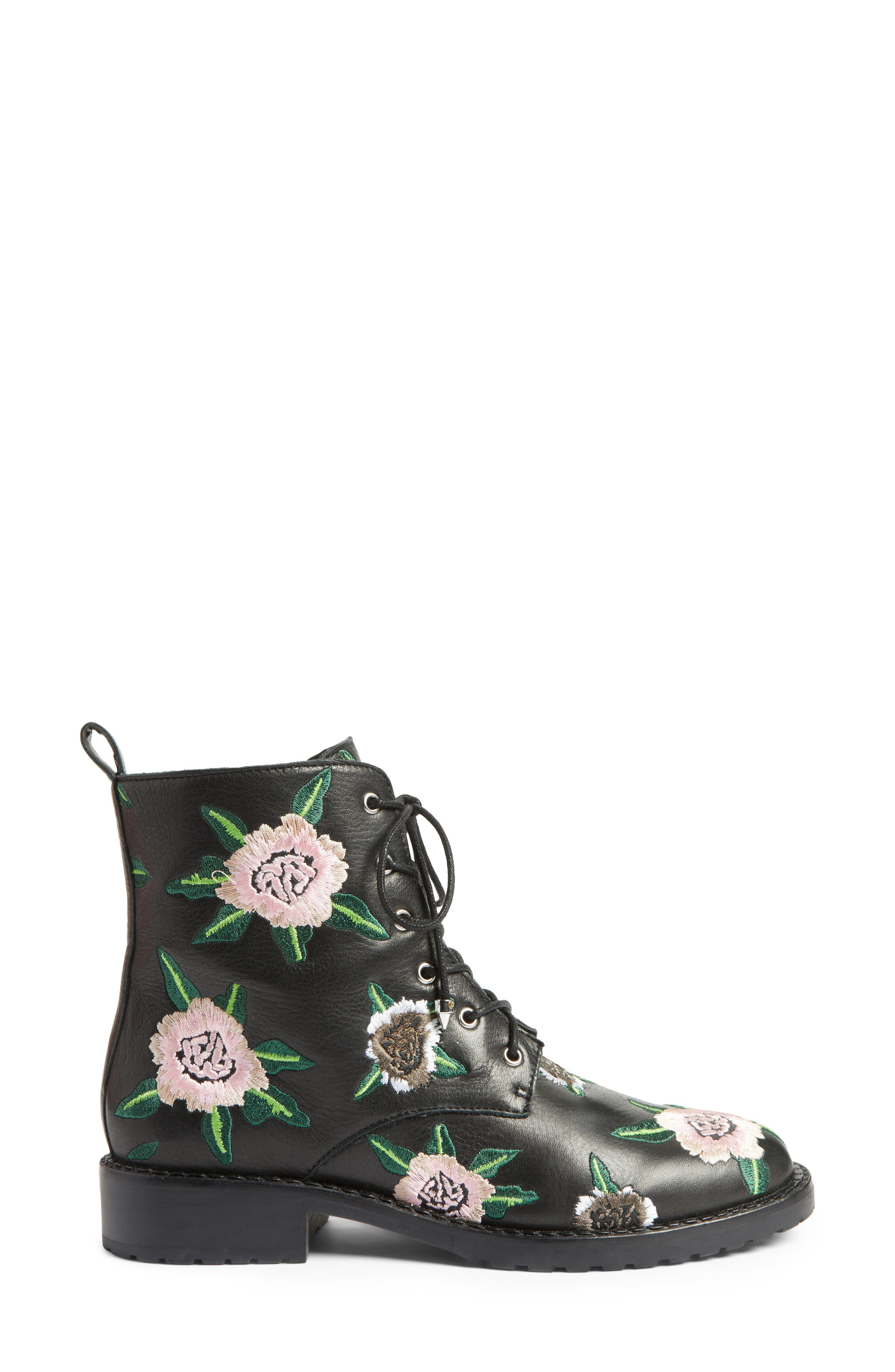 Gerry Embroidered Lace-Up Boot,                             Alternate thumbnail 3, color,                             001