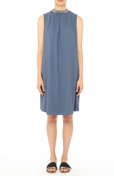 Satin Trim Crepe Dress, video thumbnail