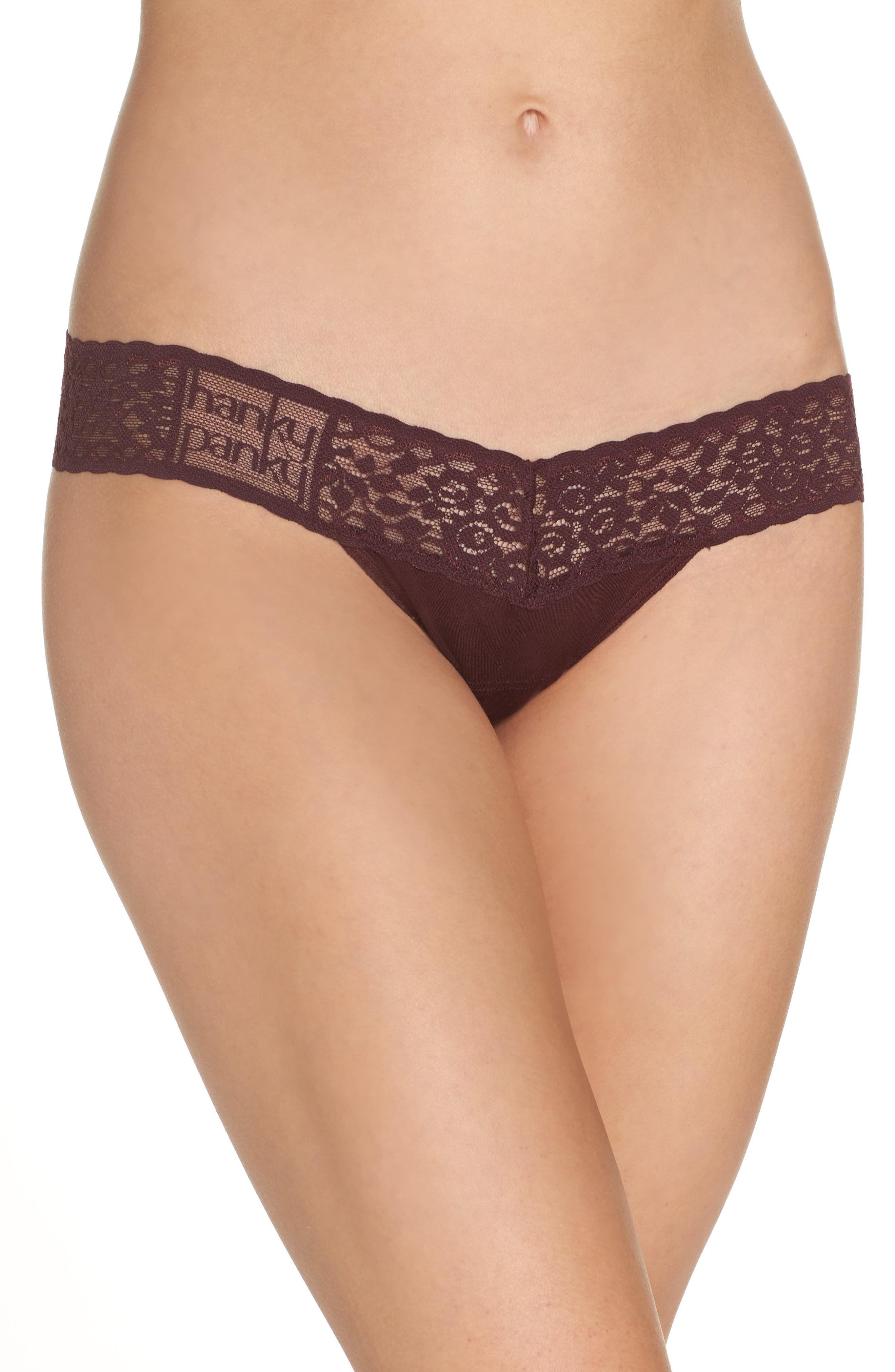 'Logo' Low Rise Thong,                         Main,                         color, HICKORY RED